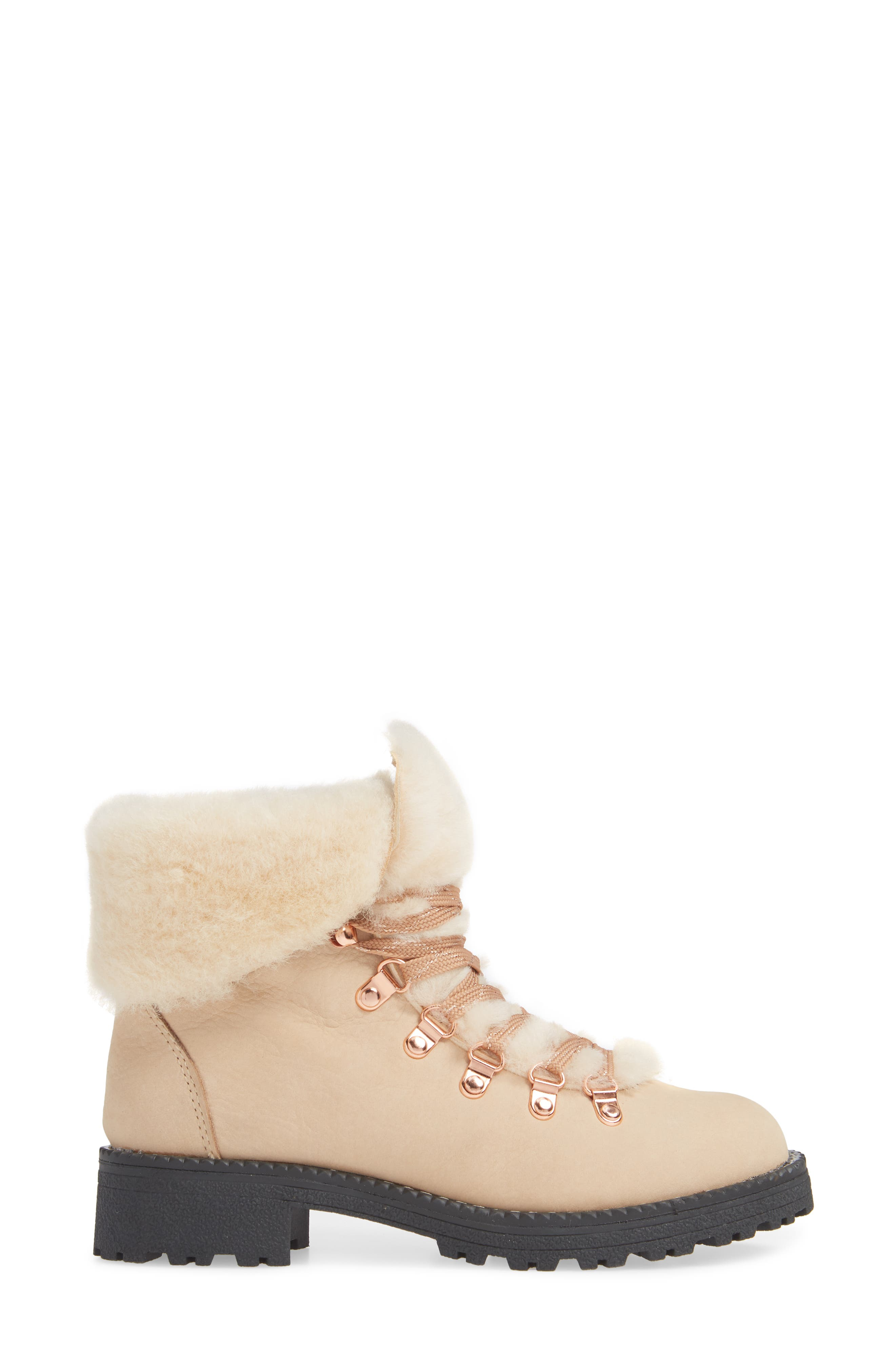Nordic Genuine Shearling Cuff Winter Boot,                             Alternate thumbnail 3, color,                             DUNE LEATHER