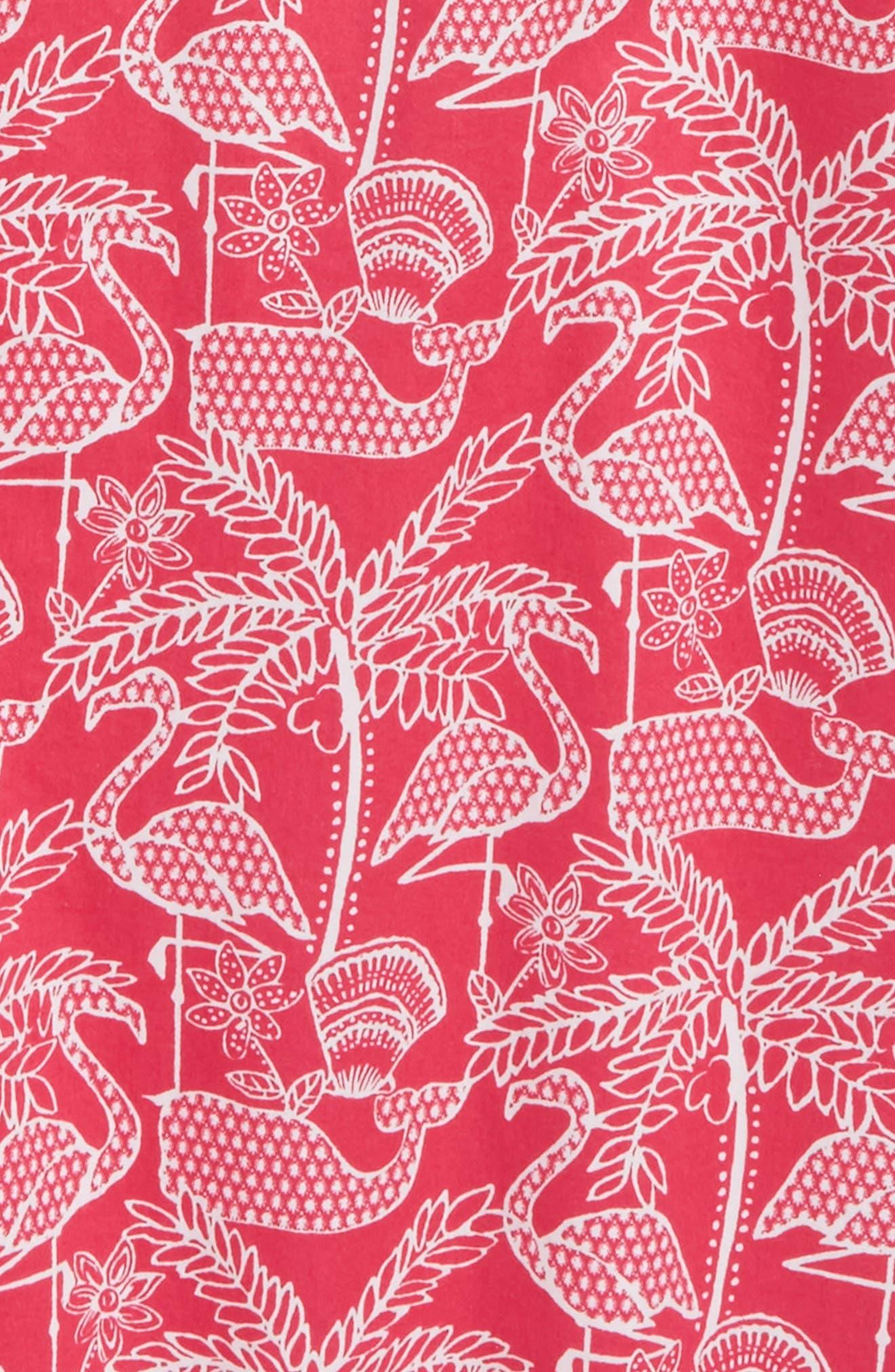 Flamingo Print Shift Dress,                             Alternate thumbnail 3, color,                             658