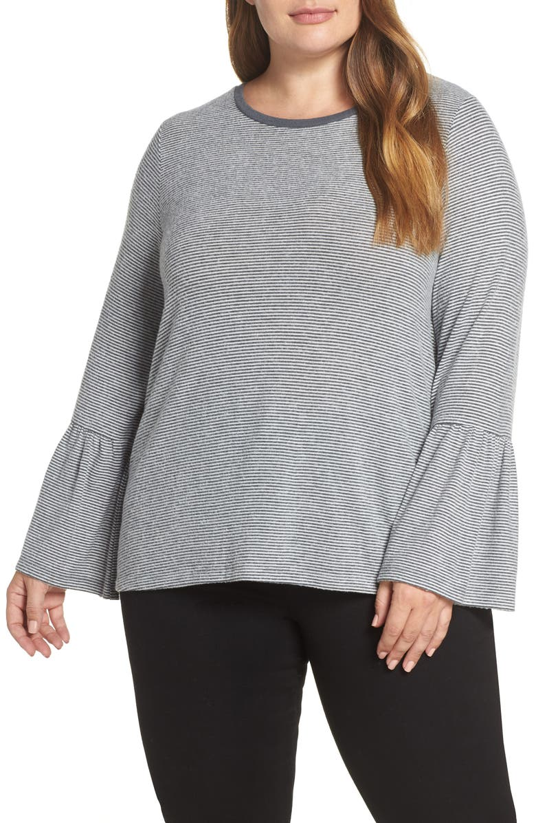 788e2739055 Lucky Brand Trendy Plus Size Striped Bell-Sleeve Top In Blue Strip ...