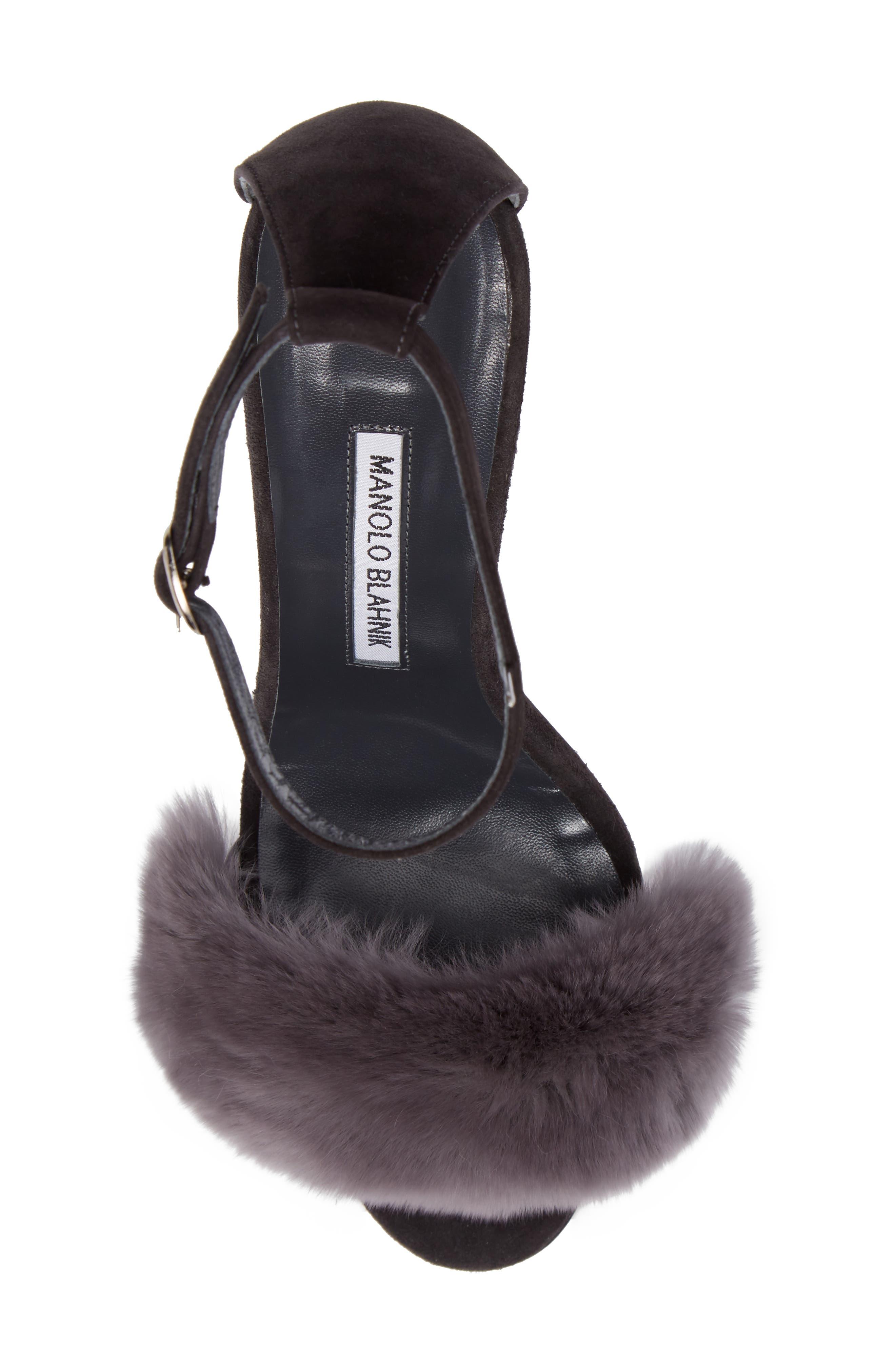 Mincha Genuine Rabbit Fur Sandal,                             Alternate thumbnail 5, color,                             035