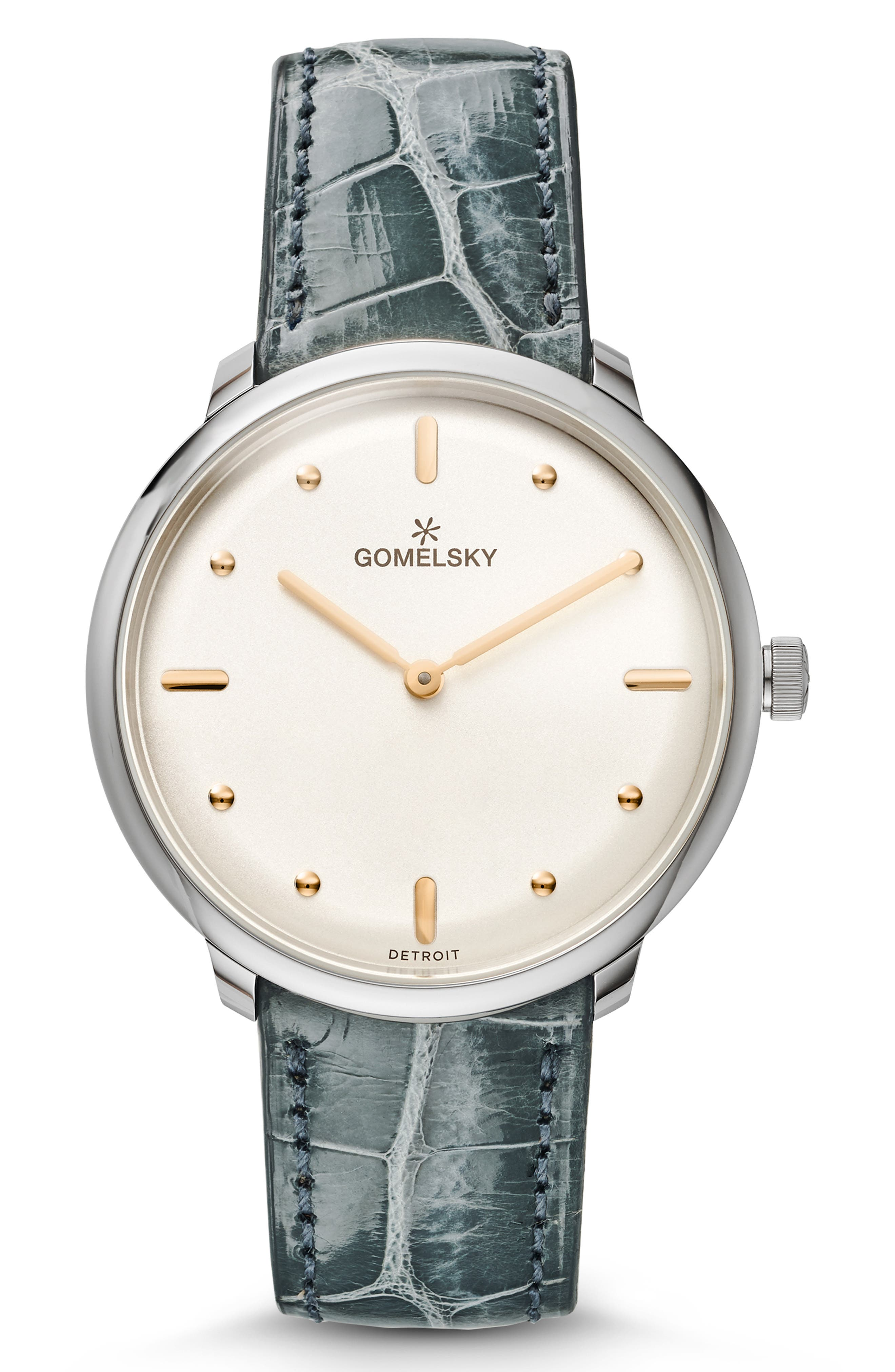 GOMELSKY The Lois Alligator Strap Watch, 36Mm in Green/ Silver