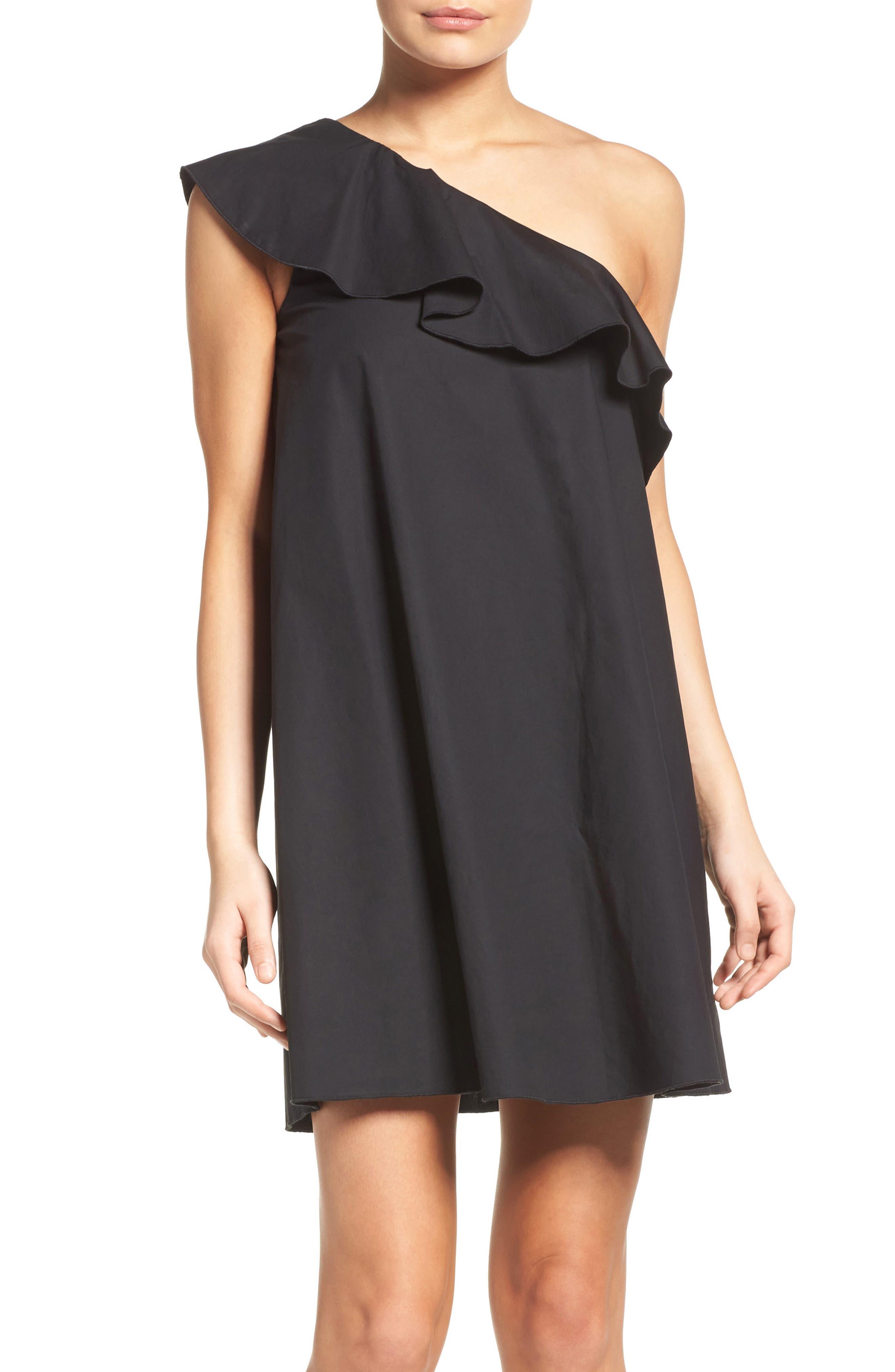 One-Shoulder Ruffle Dress,                         Main,                         color, 001