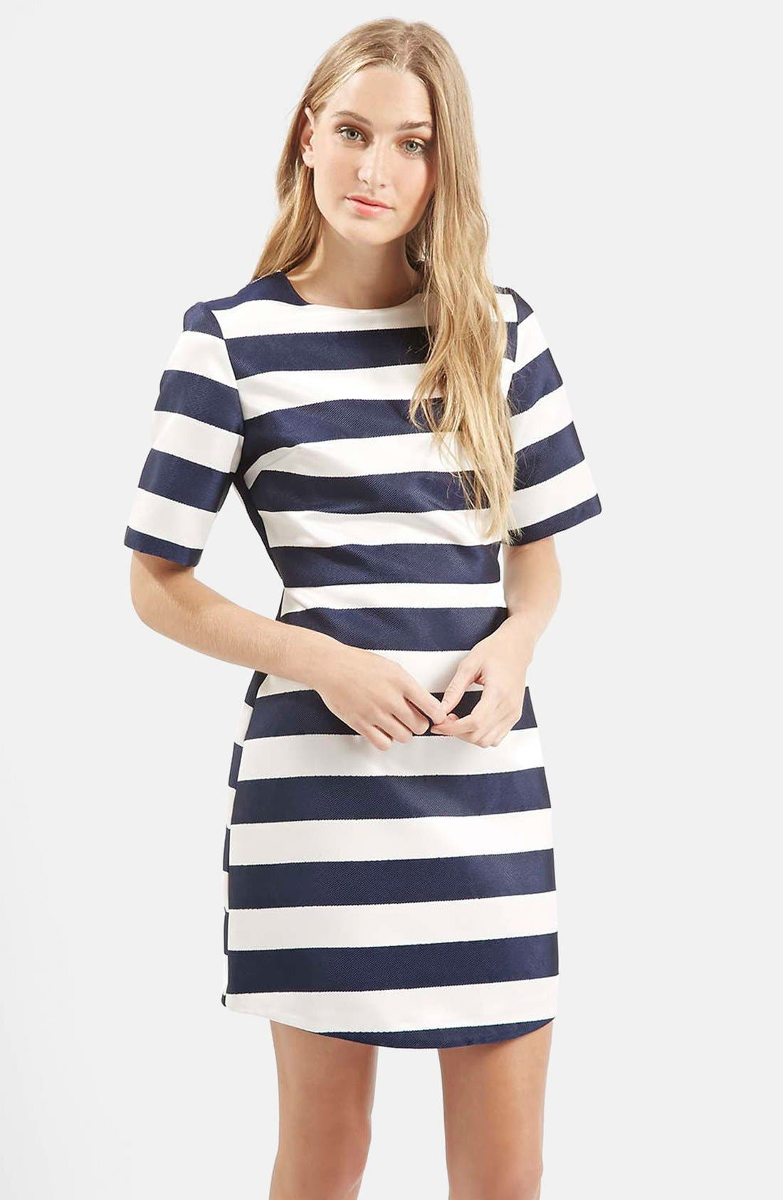 Twill & Satin Stripe Dress,                             Alternate thumbnail 2, color,                             410