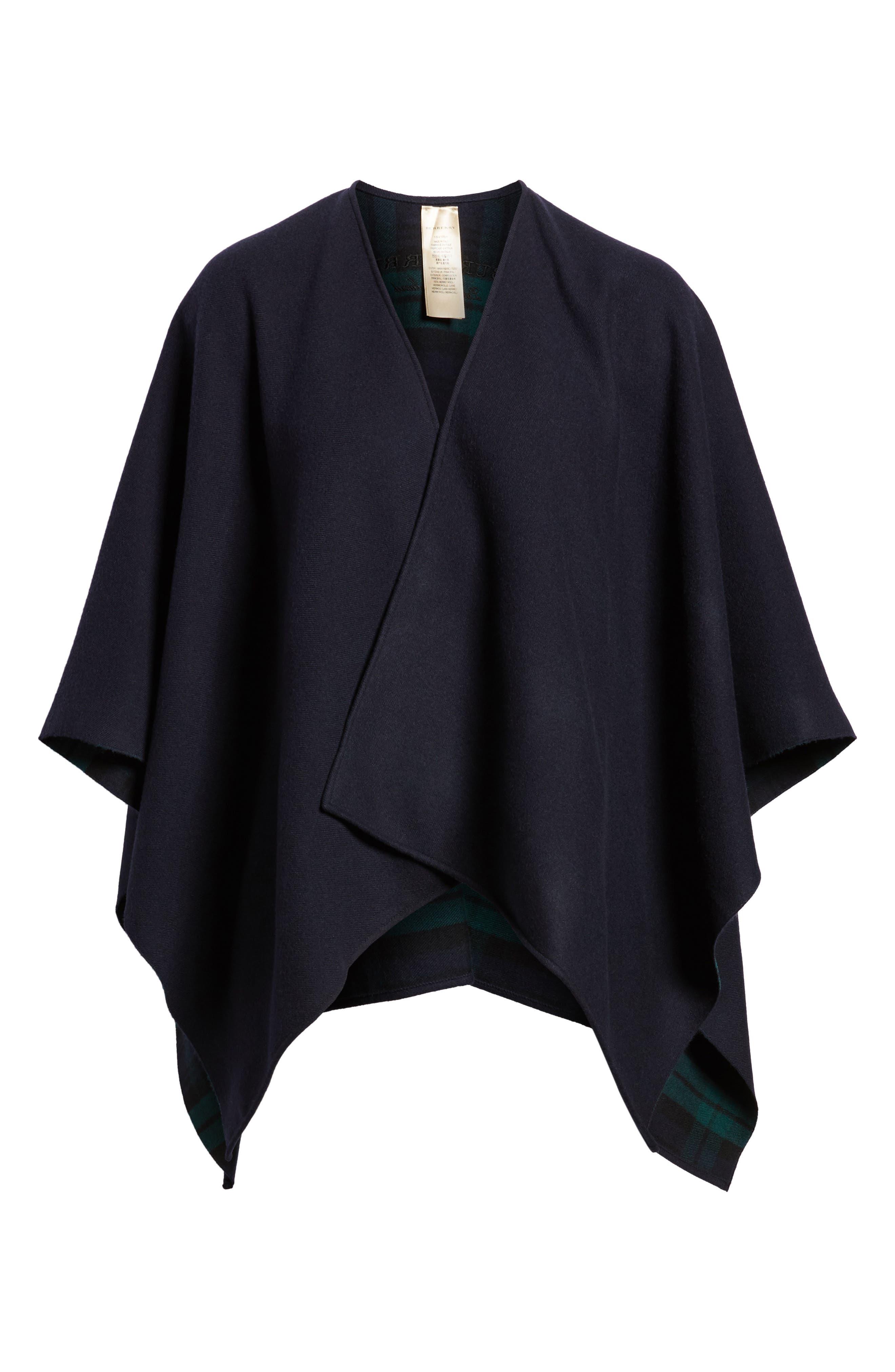 Crop Reversible Merino Wool Cape,                             Alternate thumbnail 12, color,