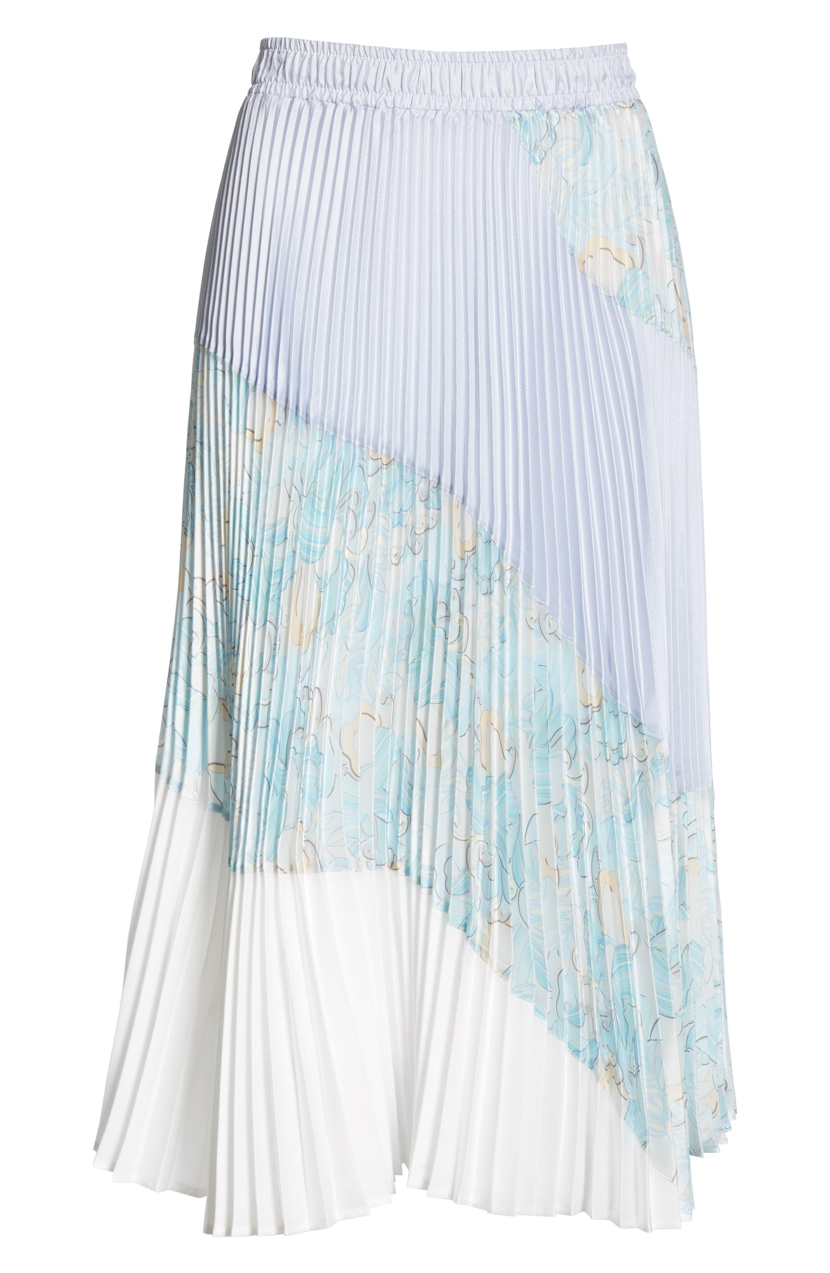 Floral Colorblock Pleated Skirt,                             Alternate thumbnail 6, color,                             BLUE