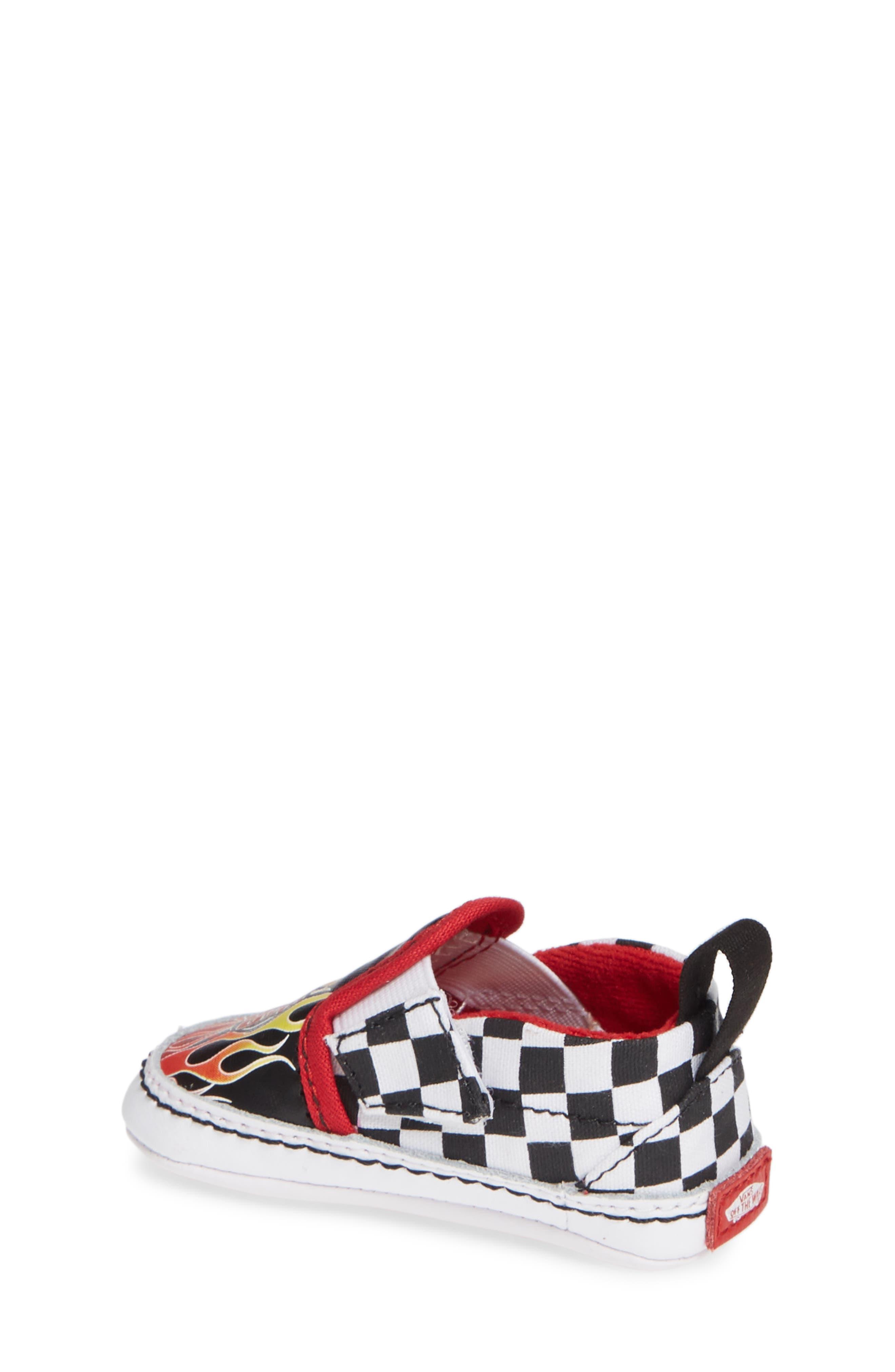 Slip-On V Crib Shoe,                             Alternate thumbnail 2, color,                             BLACK/ TRUE WHITE TEXTILE