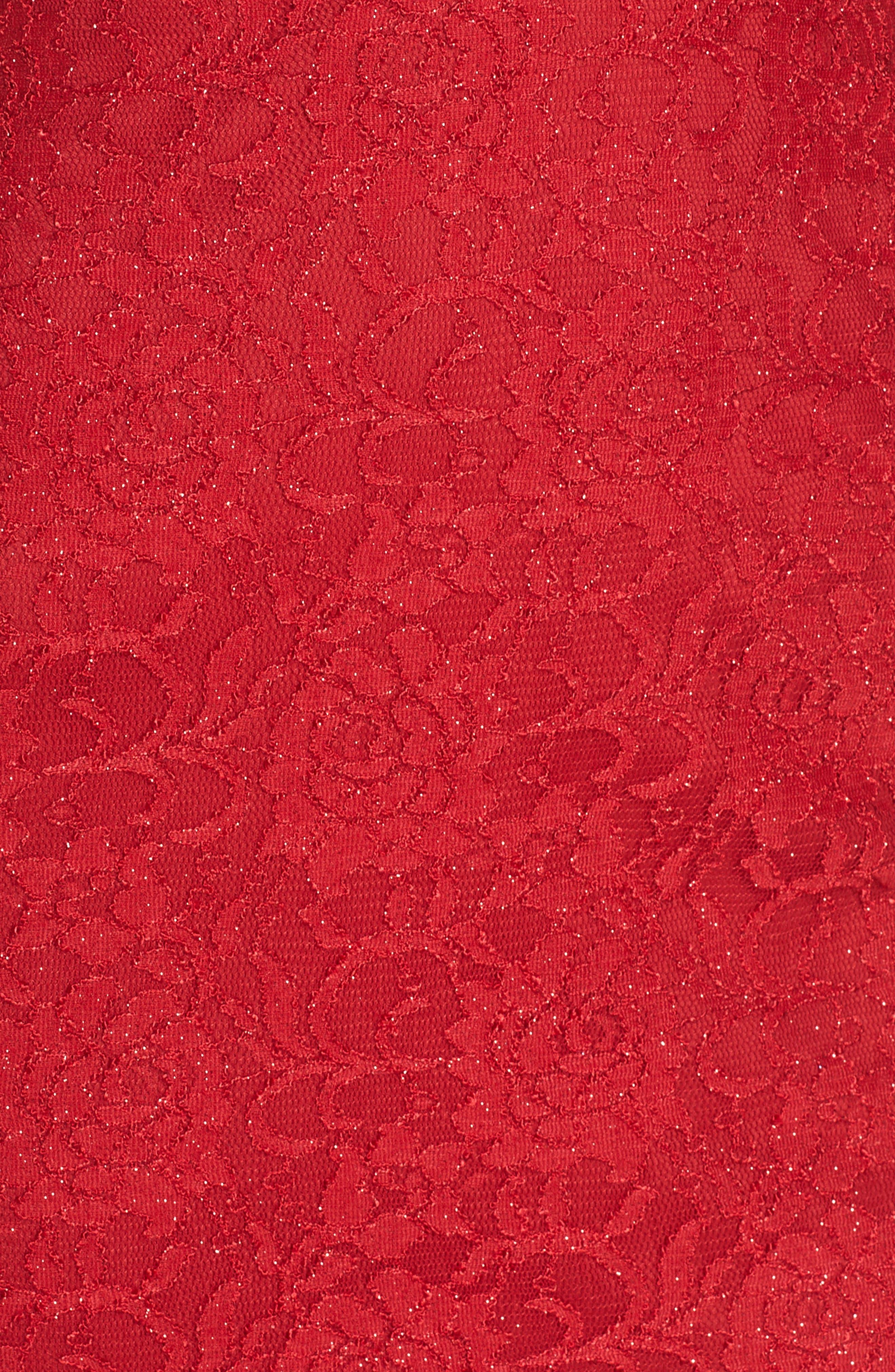 Sleeveless Glitter Lace Sheath Dress,                             Alternate thumbnail 6, color,                             RE RED
