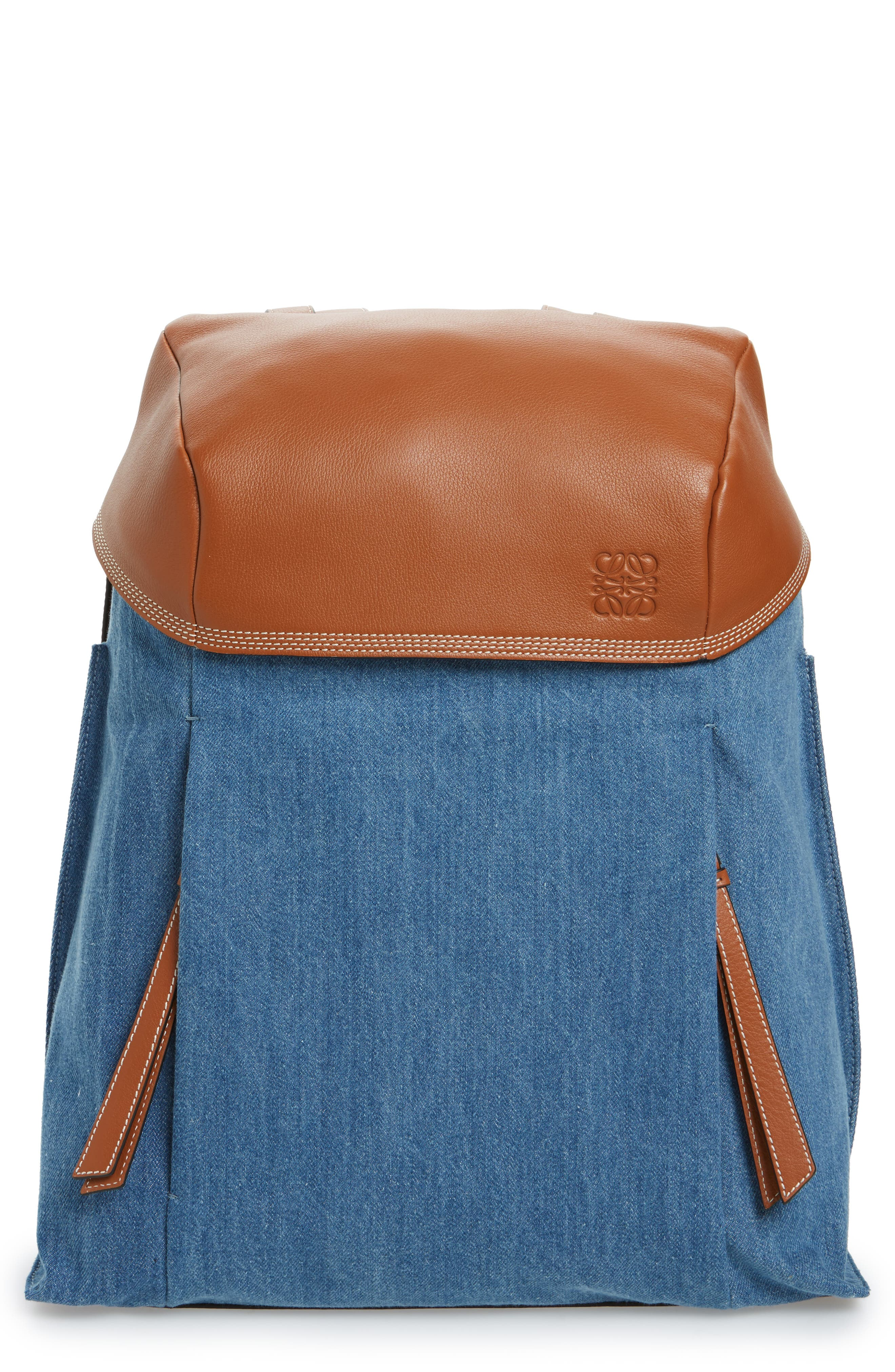 T Small Denim & Leather Backpack,                         Main,                         color, 476