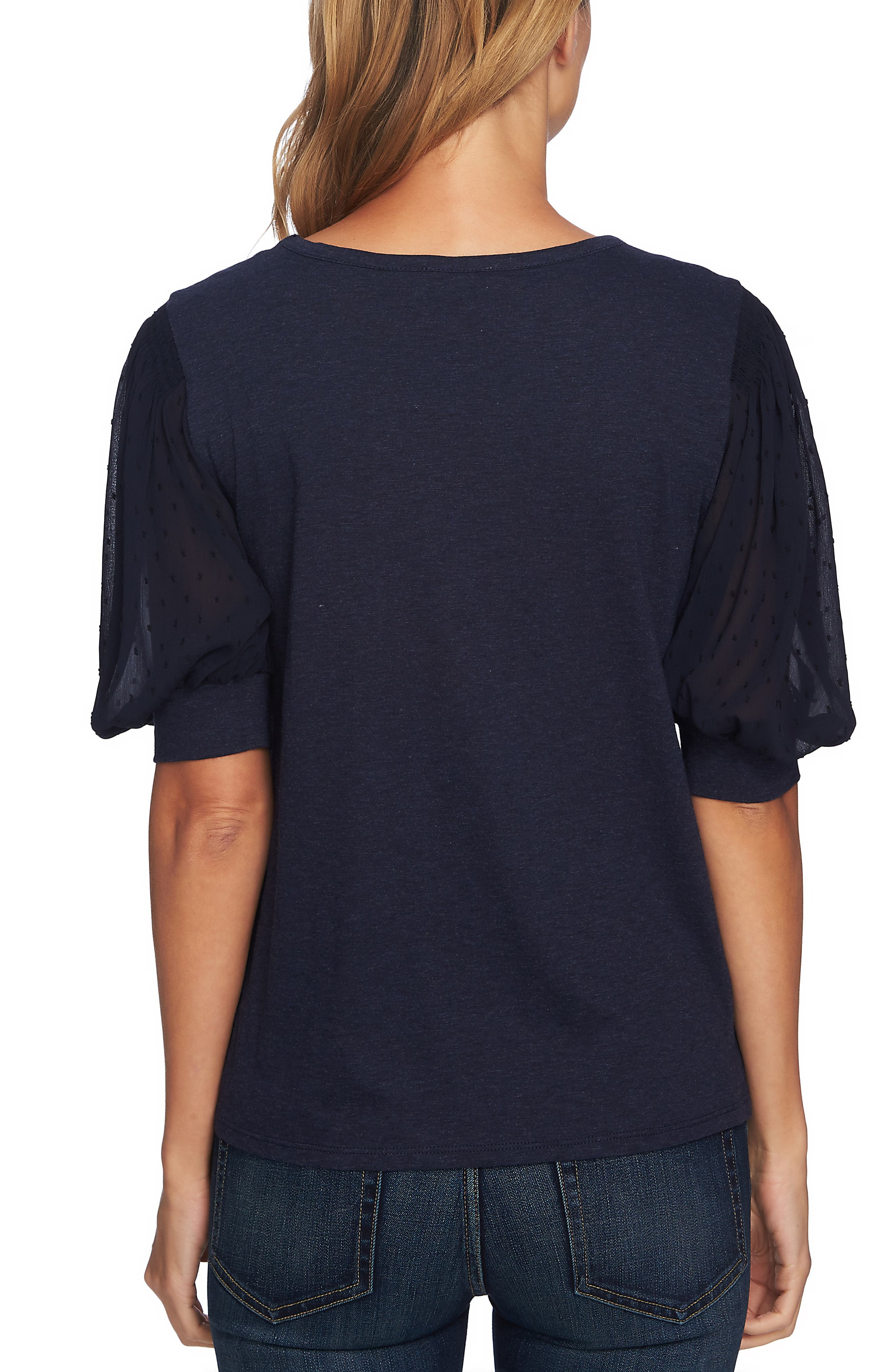 CECE,                             Puffed Sleeve Tee,                             Alternate thumbnail 2, color,                             CAVIAR HEATHER