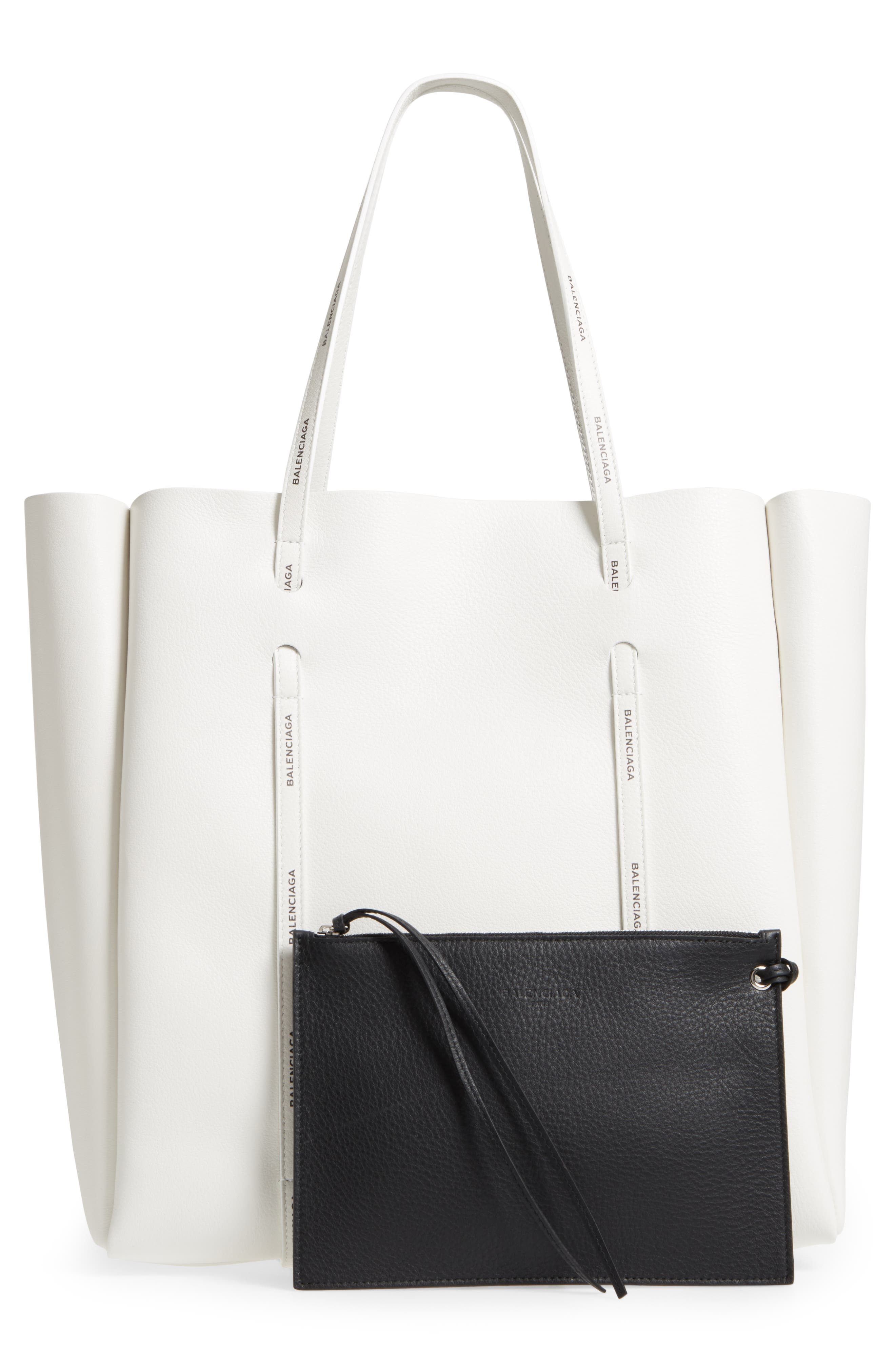 Medium Everyday Calfskin Tote,                             Alternate thumbnail 3, color,                             BLANC/ BLACK