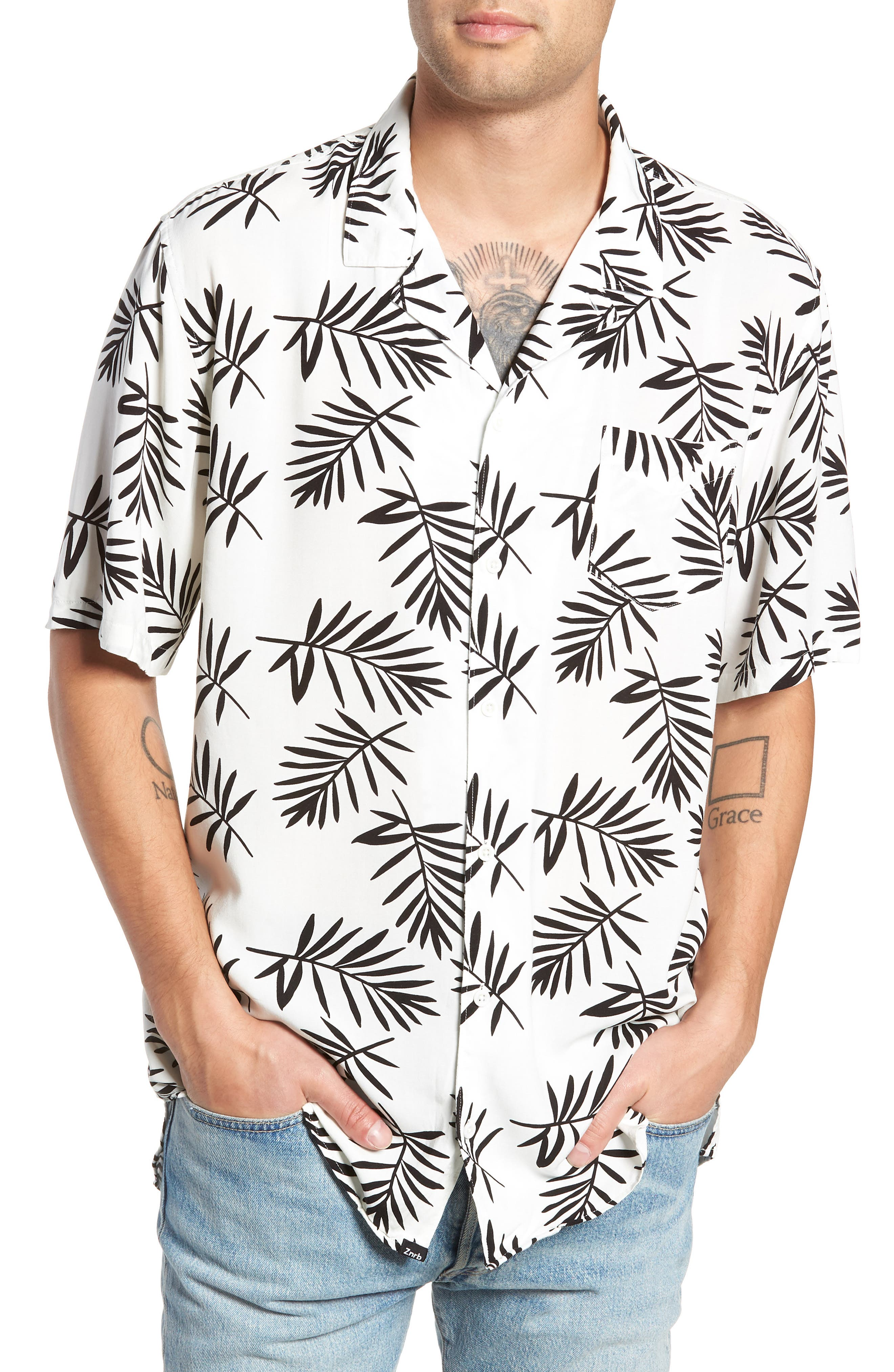 Paradise Short Sleeve Shirt,                         Main,                         color, NAVY
