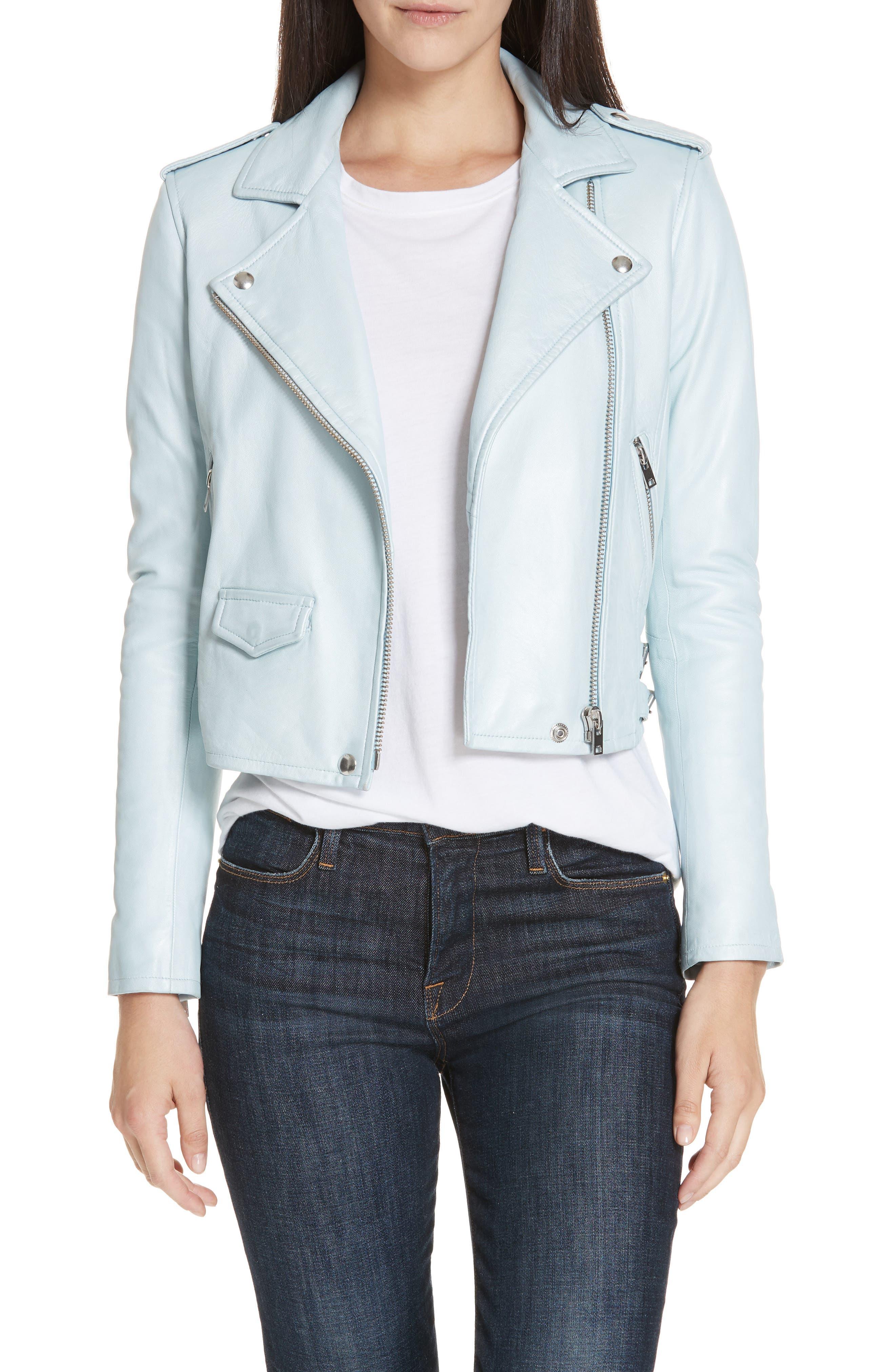 Ashville Zip-Front Moto Jacket in Azure Blue