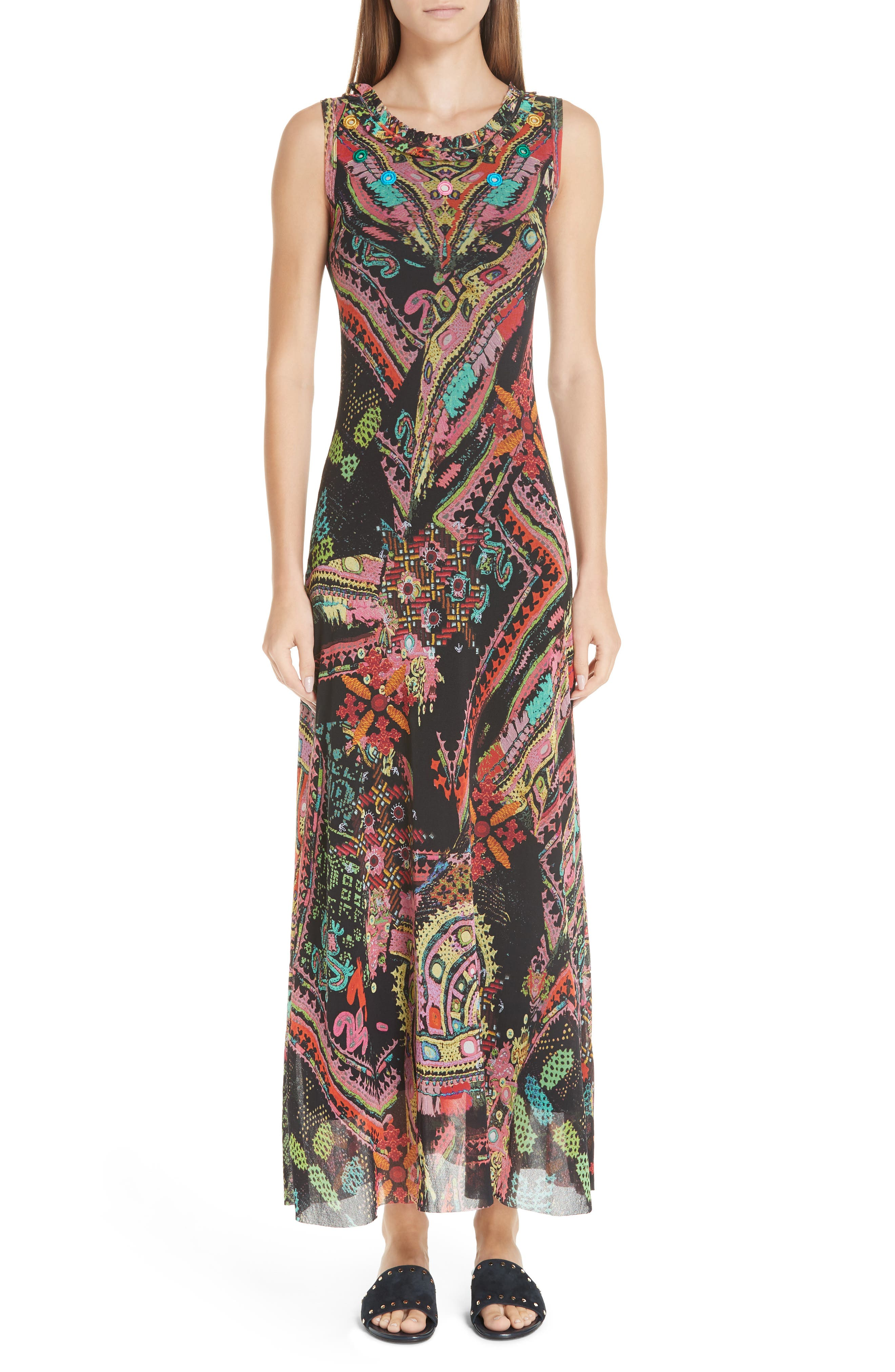 Fuzzi Print Tulle Maxi Dress, Black