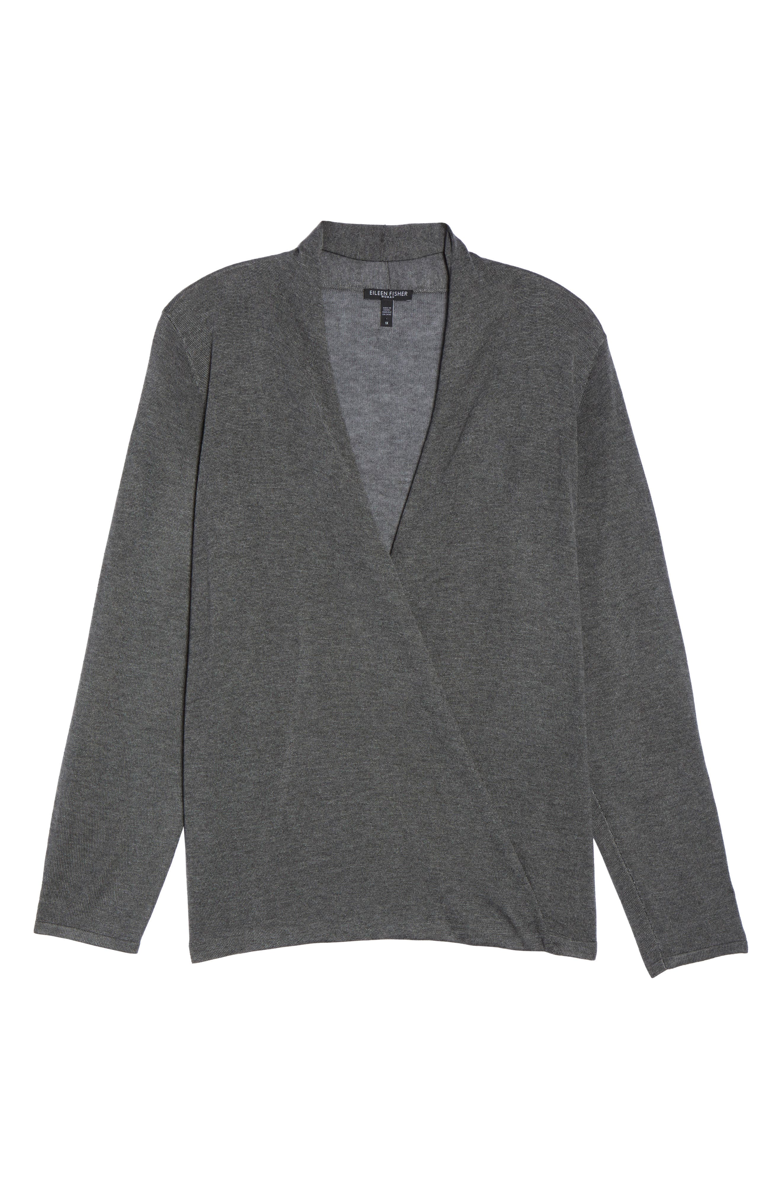 Faux Wrap Tencel<sup>®</sup> Lyocell & Merino Wool Sweater,                             Alternate thumbnail 6, color,