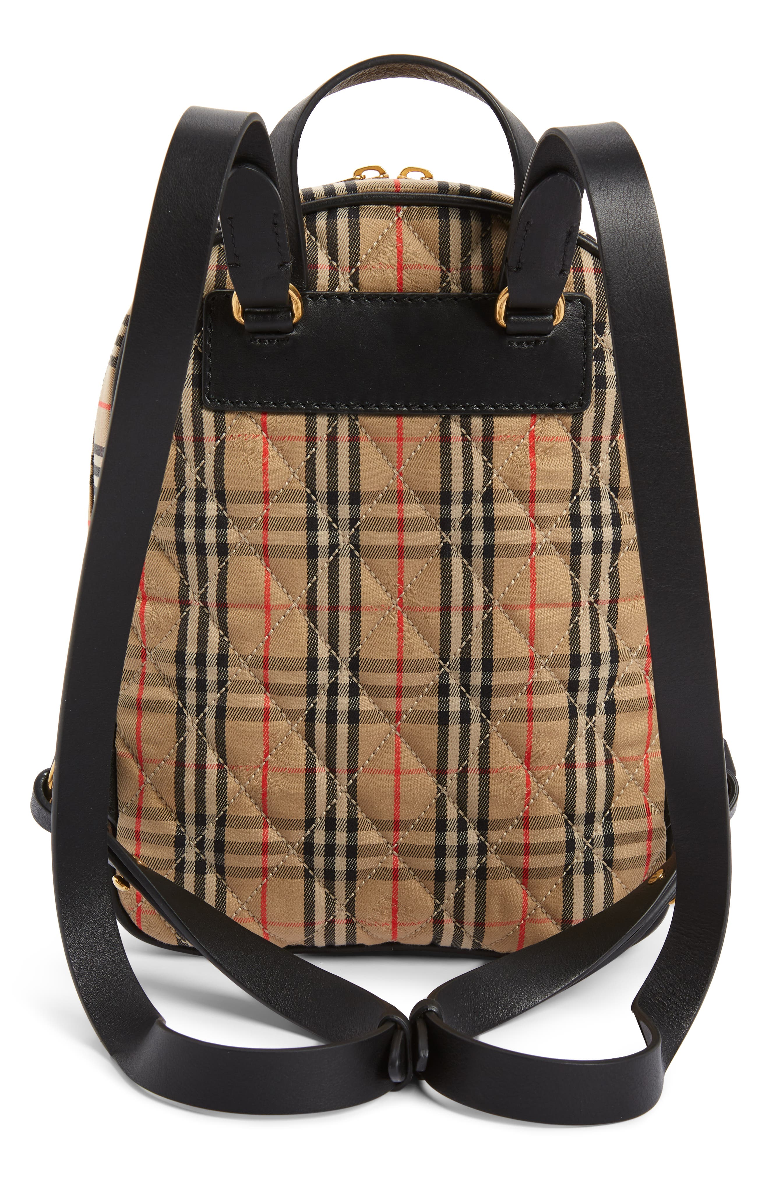 Link Vintage Check Canvas Backpack,                             Alternate thumbnail 3, color,                             ANTIQUE YELLOW/ BLACK