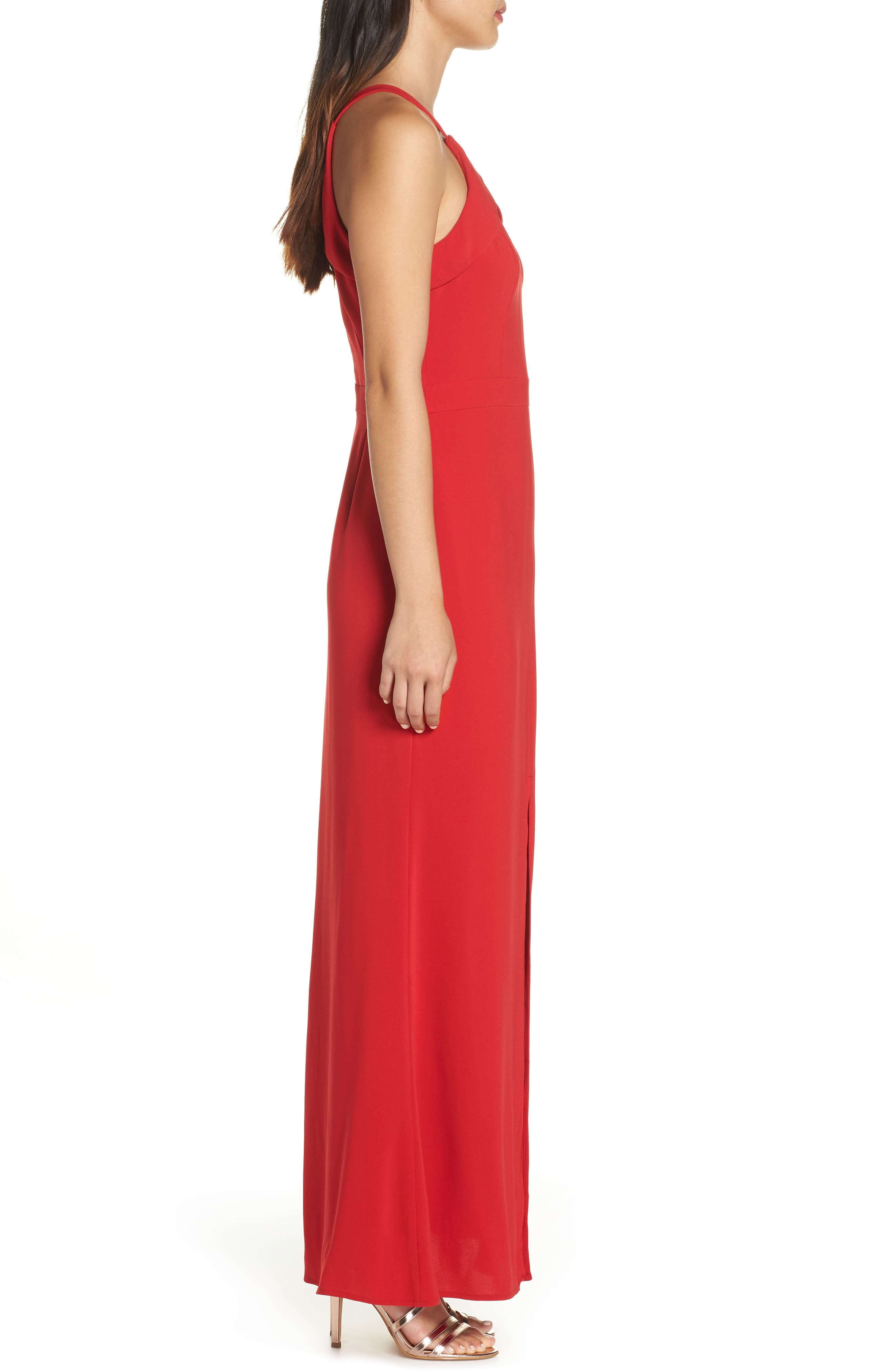 HARLYN,                             Keyhole Bodice Gown,                             Alternate thumbnail 4, color,                             RED