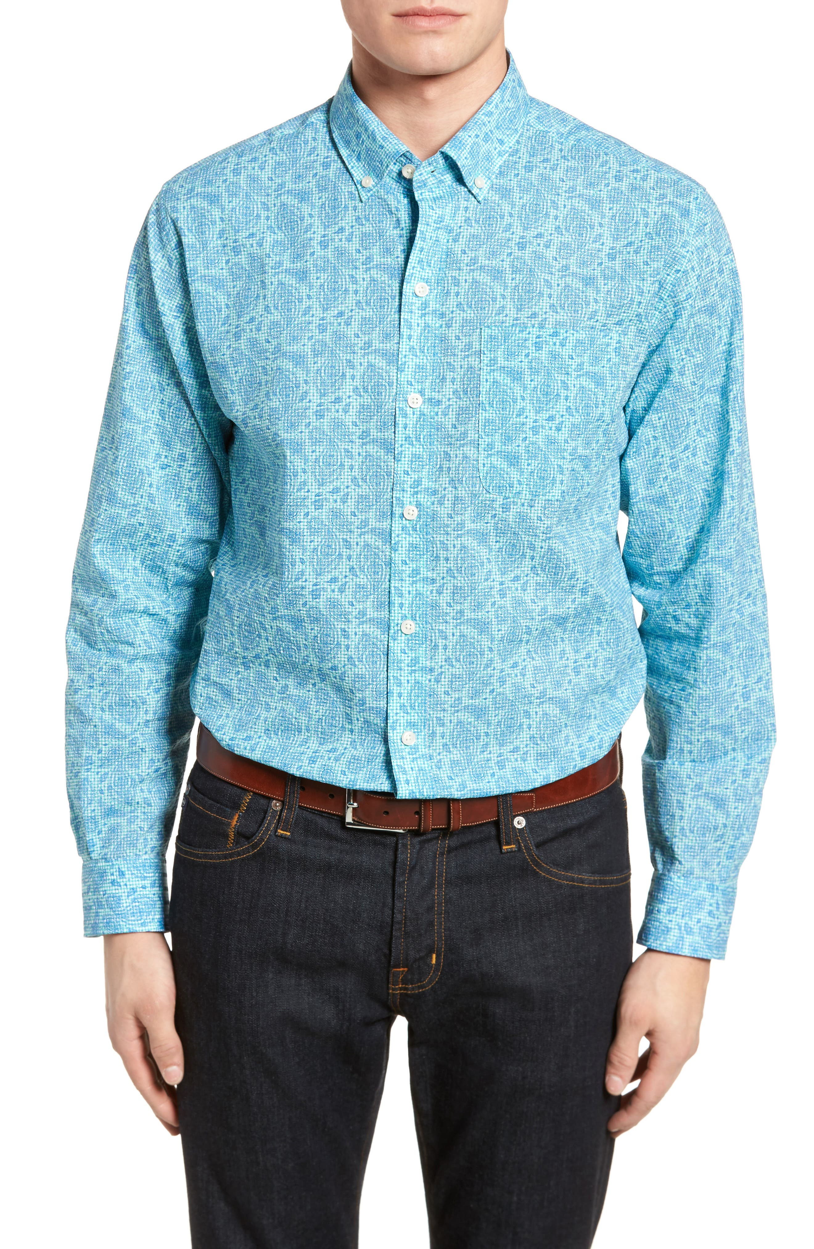 Jameson Classic Fit Print Seersucker Sport Shirt,                             Main thumbnail 1, color,                             328