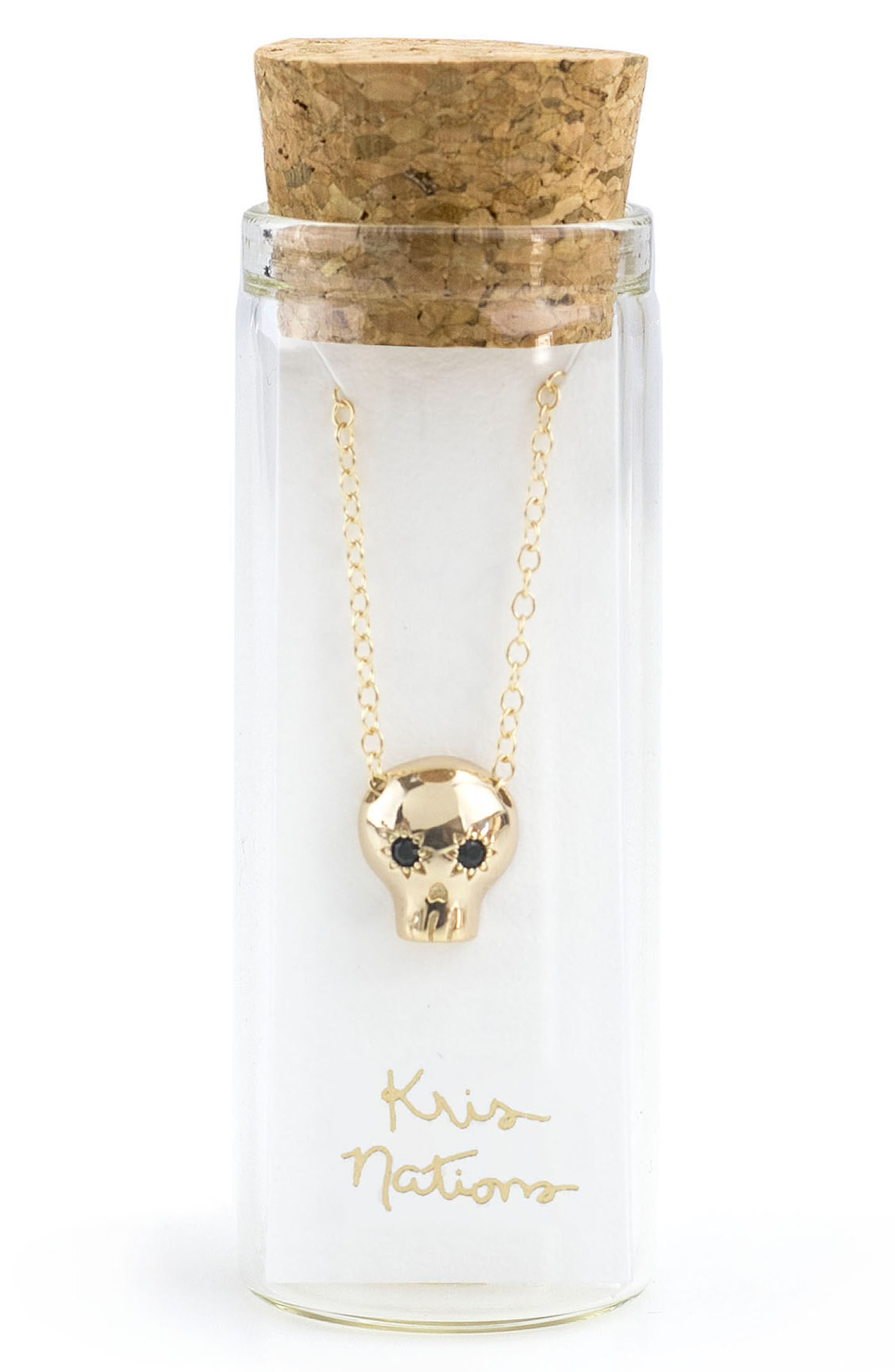 Onyx Skull Charm Necklace,                             Alternate thumbnail 2, color,                             001
