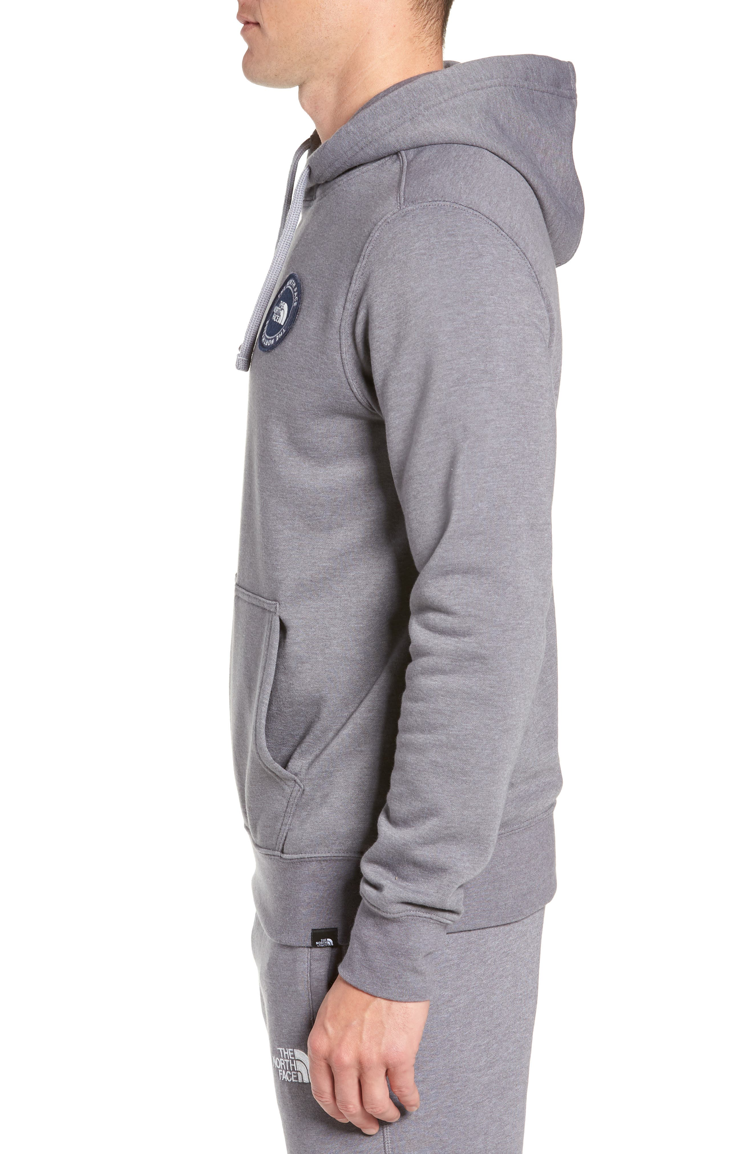 North Face Logo Patch Pullover Hoodie,                             Alternate thumbnail 3, color,                             TNF MEDIUM GREY HEATHER