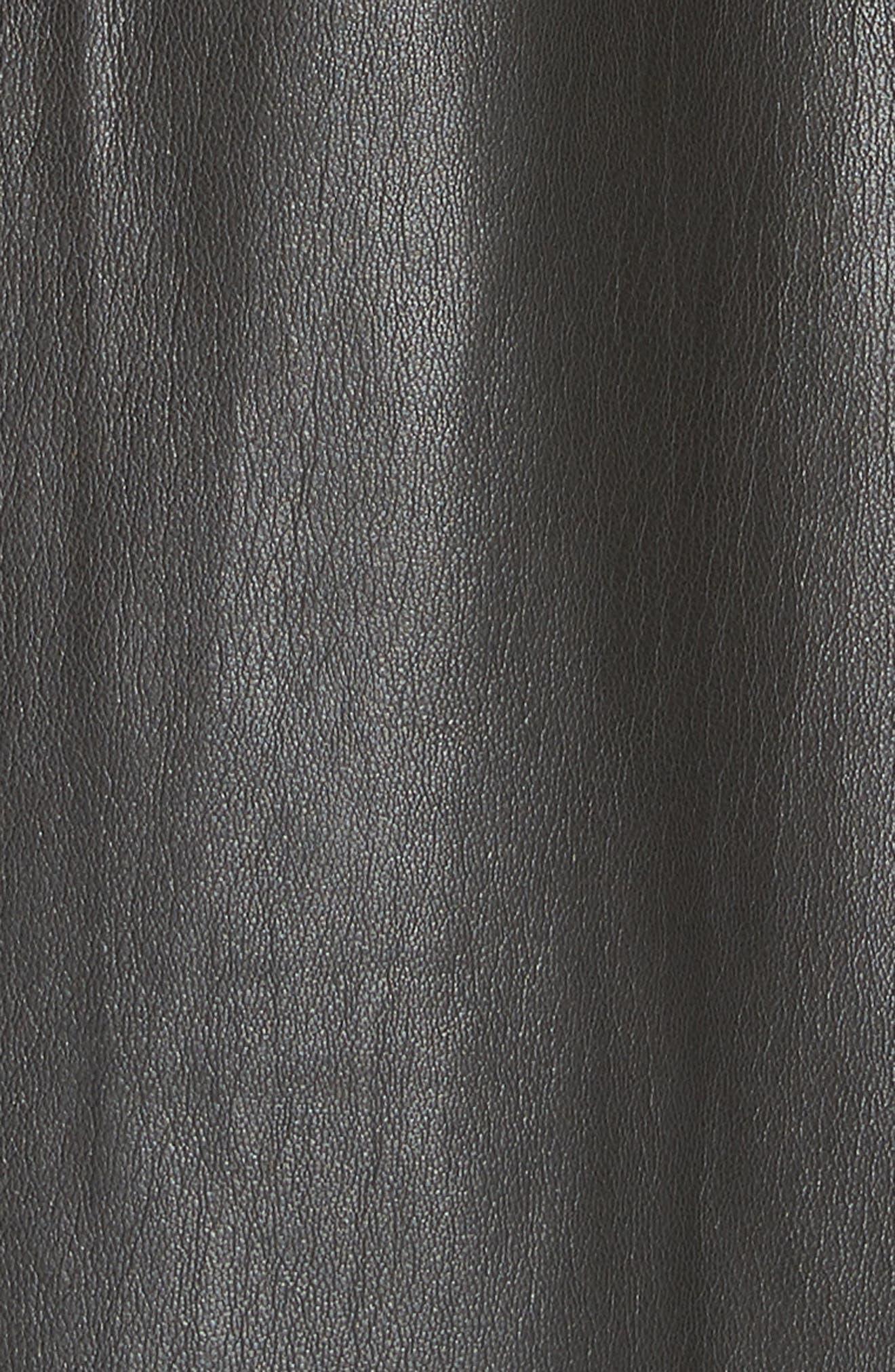 Penelope Faux Leather Wrap Dress,                             Alternate thumbnail 5, color,                             BLACK