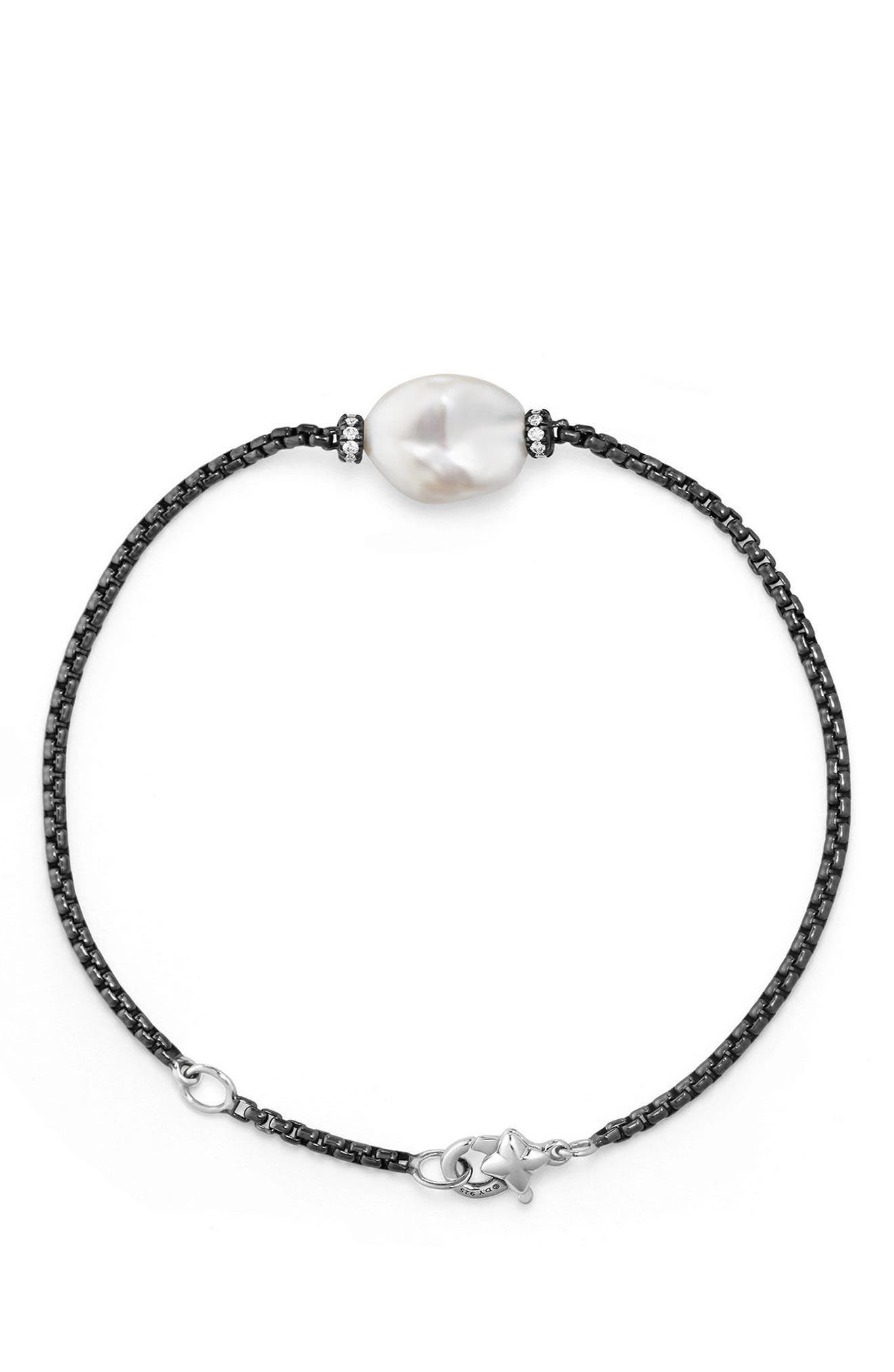 Solari Station Bracelet with Diamonds and Pearl,                             Alternate thumbnail 2, color,                             SILVER/ PEARL