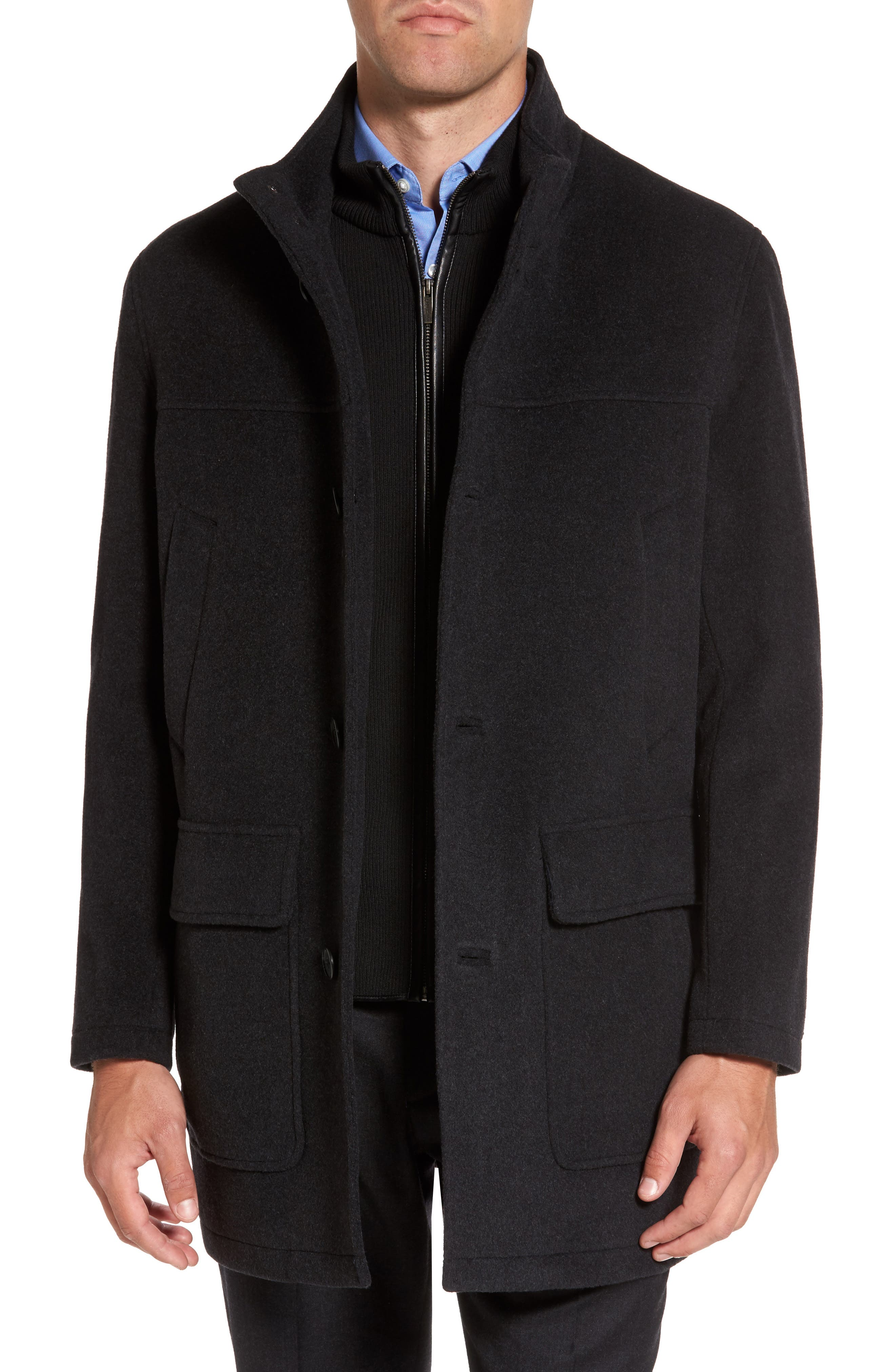 Wool Blend Topcoat with Inset Bib,                             Alternate thumbnail 15, color,