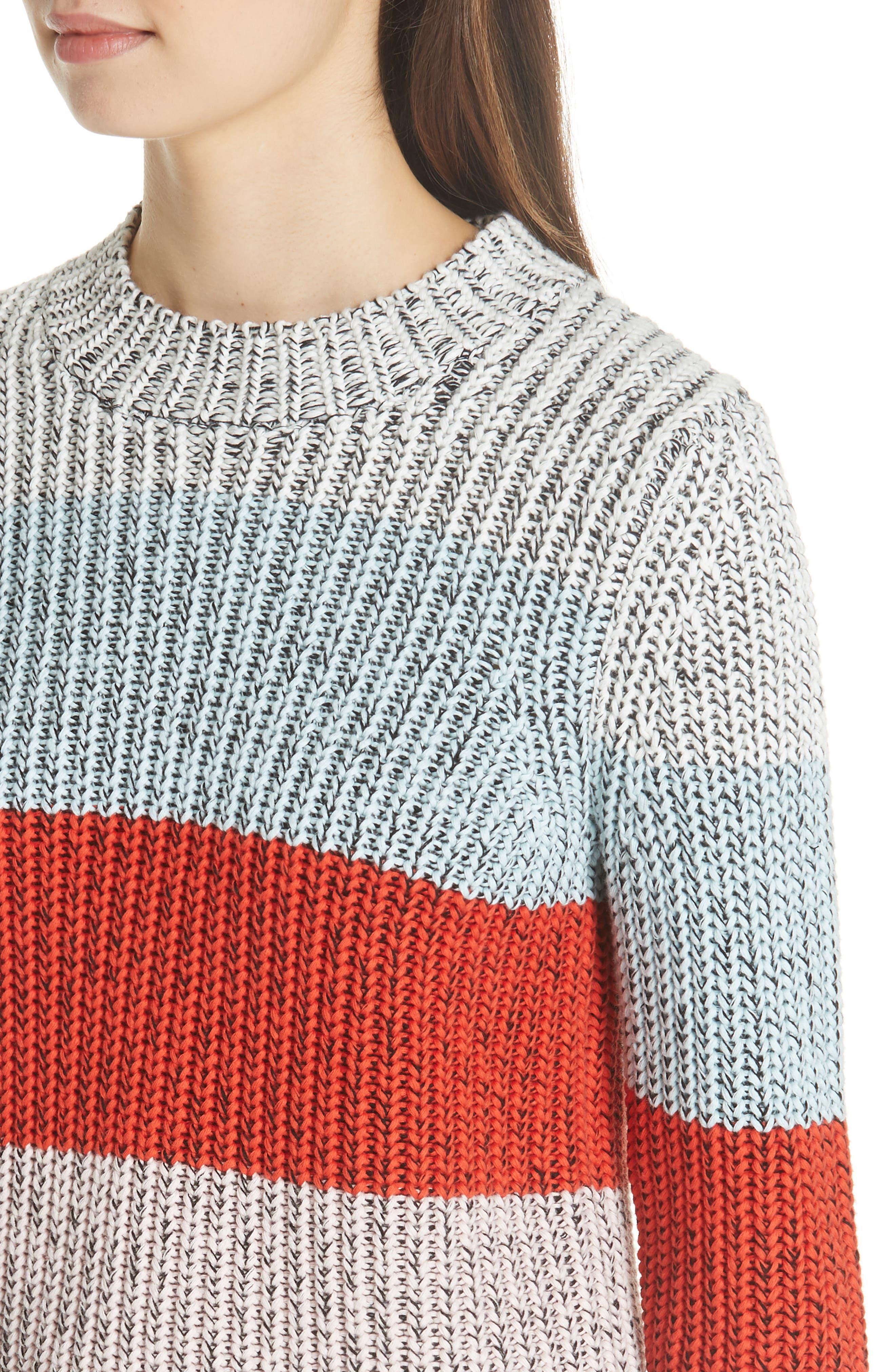 Chunky Crop Cotton Sweater,                             Alternate thumbnail 4, color,                             MULTI STRIPE