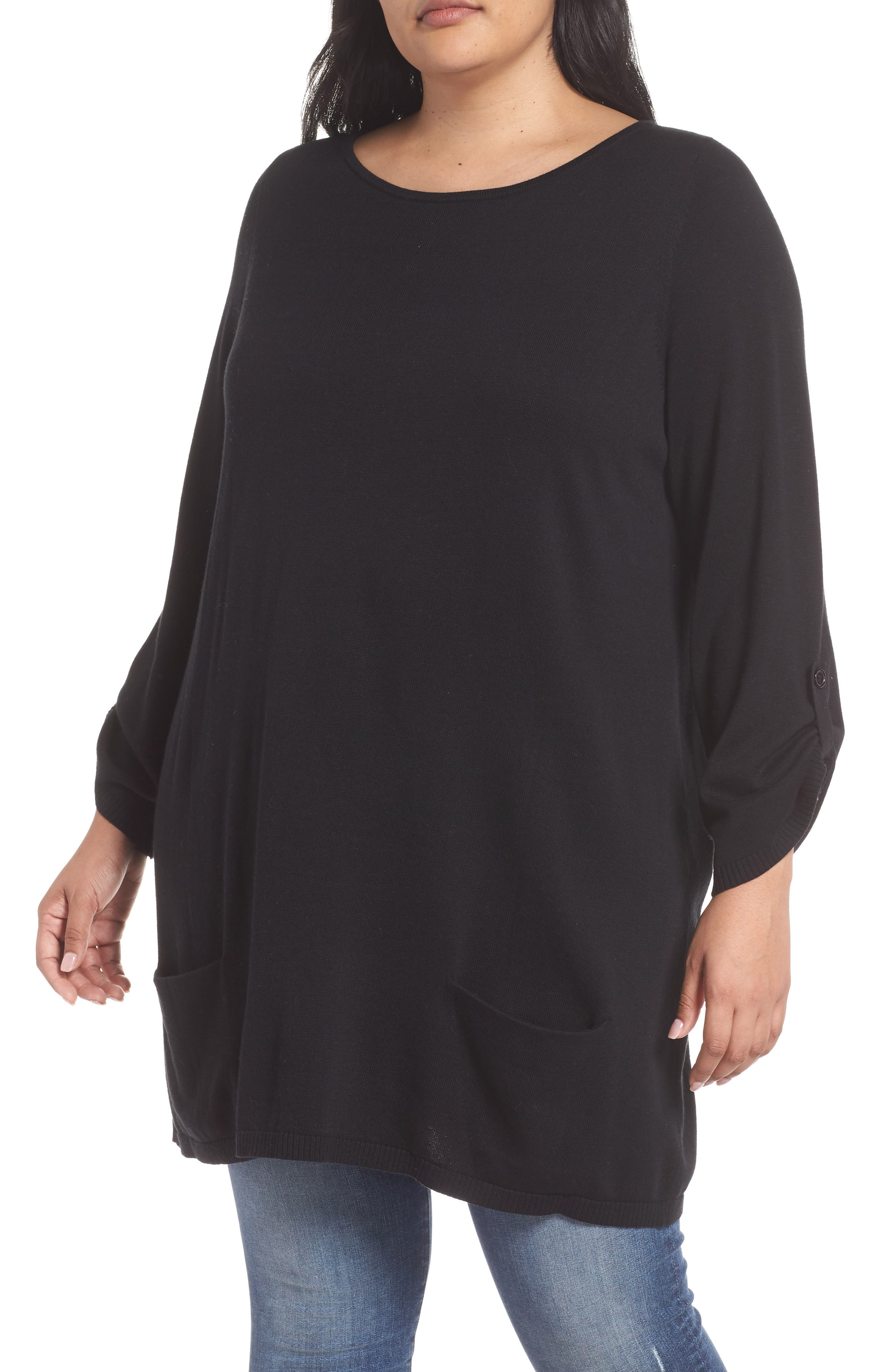 CASLON<SUP>®</SUP> Roll Sleeve Tunic Sweater, Main, color, BLACK