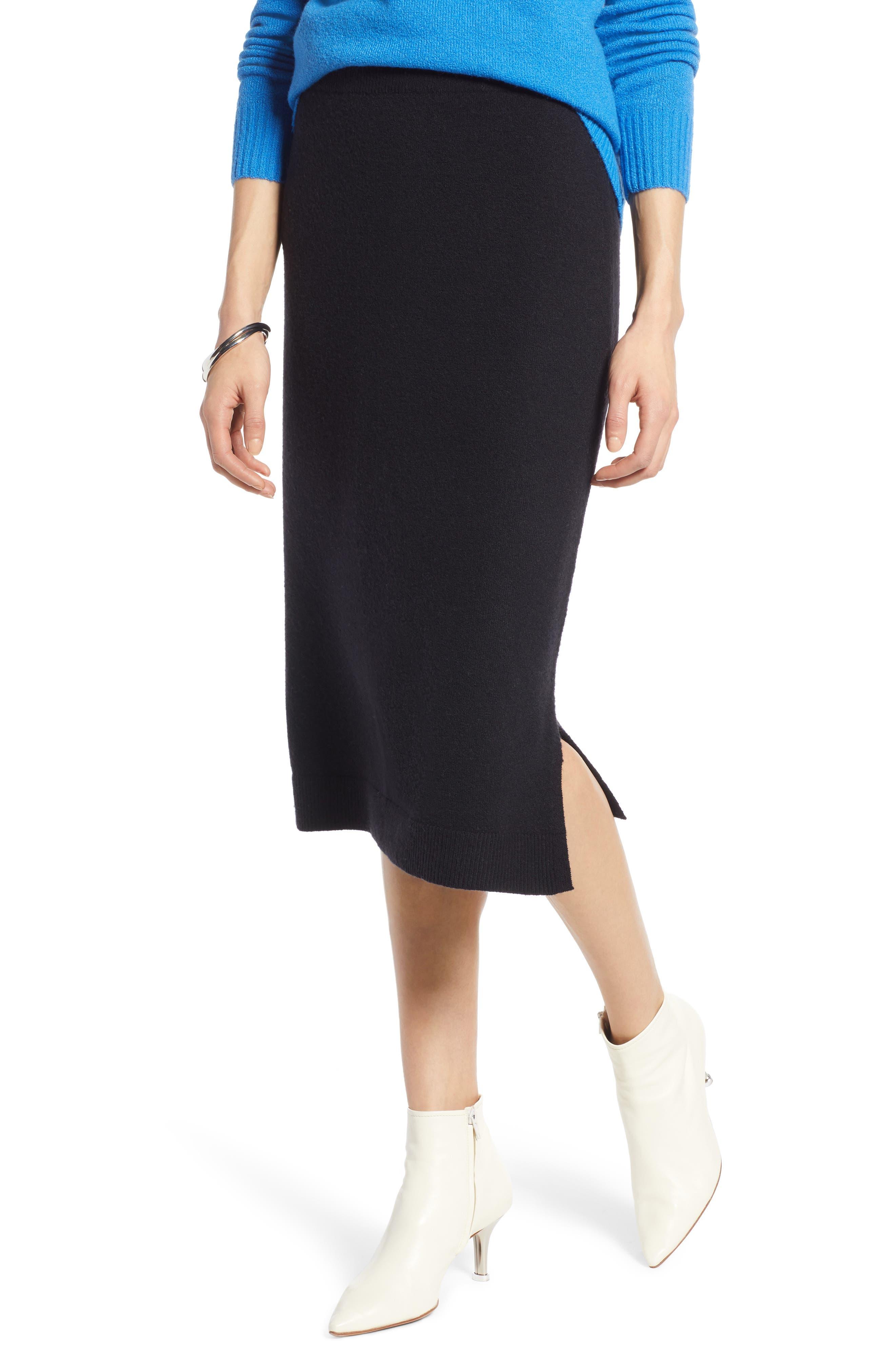 Halogen Sweater Pencil Sweater Skirt, Black