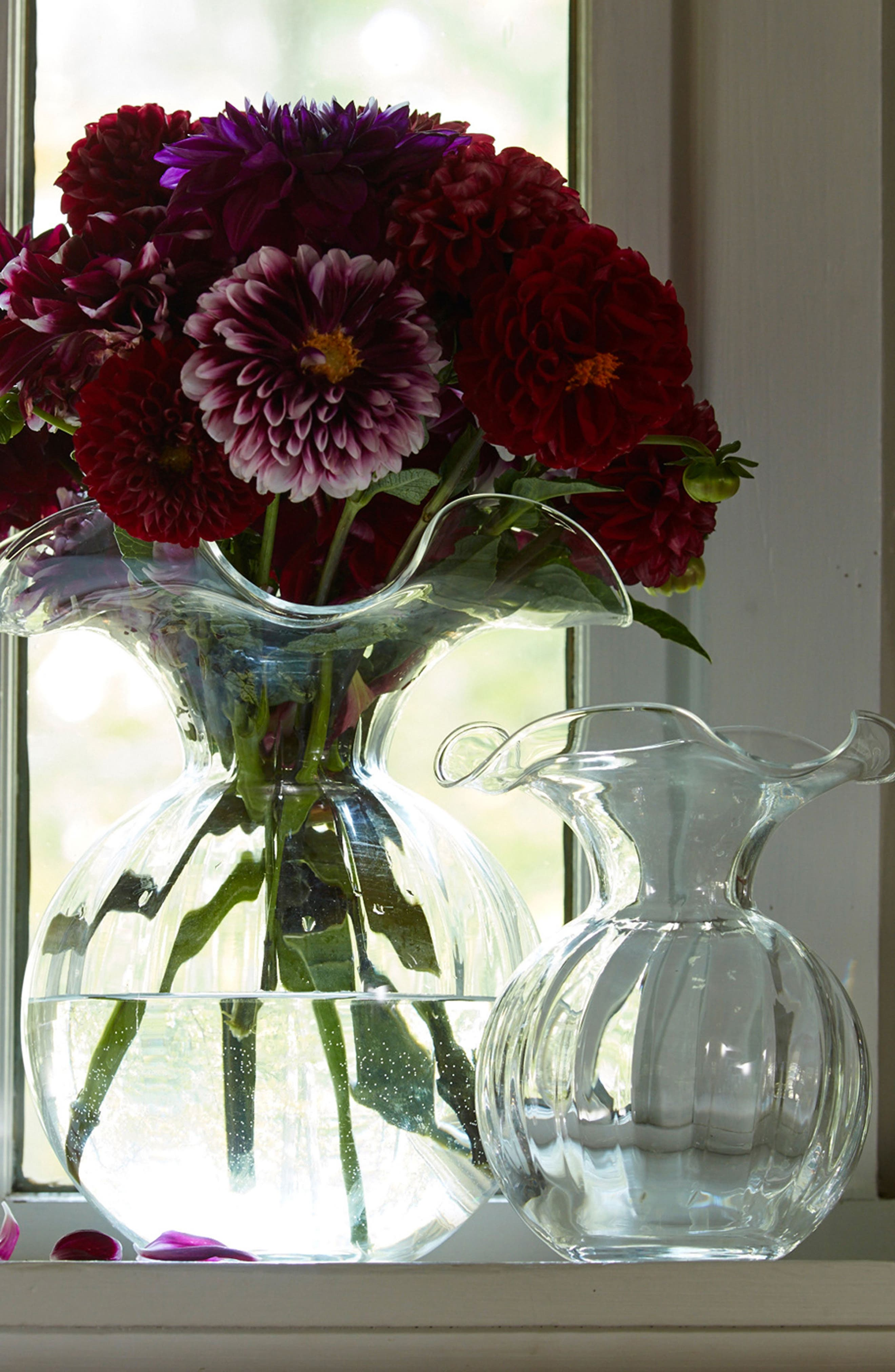 Hibiscus Fluted Vase,                             Alternate thumbnail 2, color,                             CLEAR