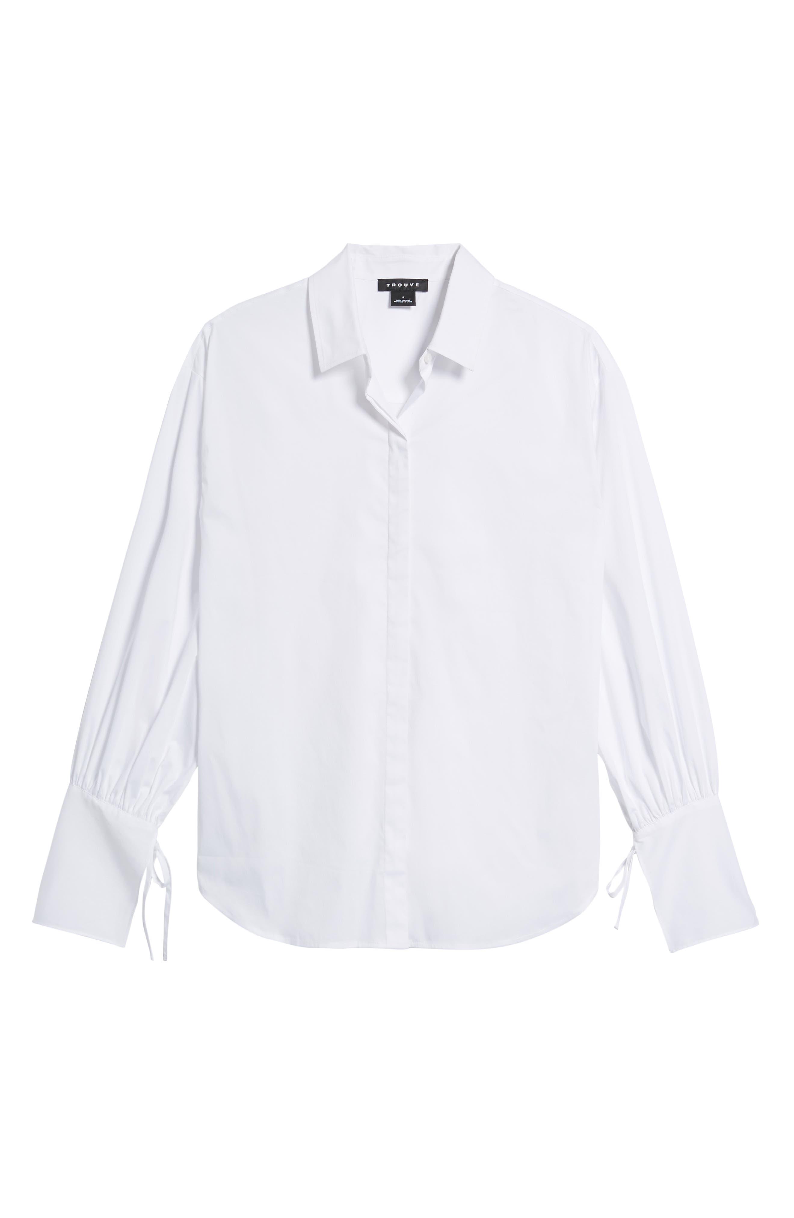 Tie Sleeve Poplin Shirt,                             Alternate thumbnail 6, color,