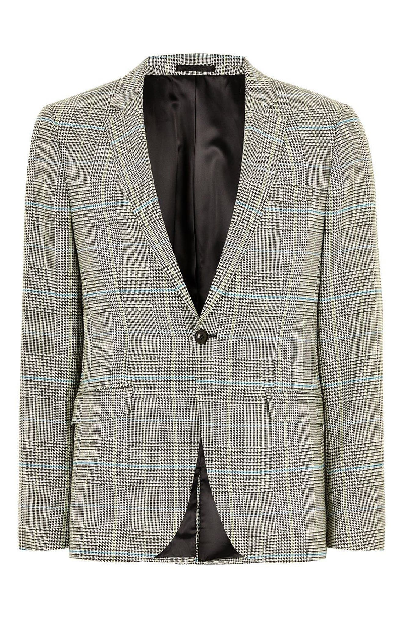 Skinny Fit Houndstooth Suit Jacket,                             Alternate thumbnail 4, color,                             GREY MULTI