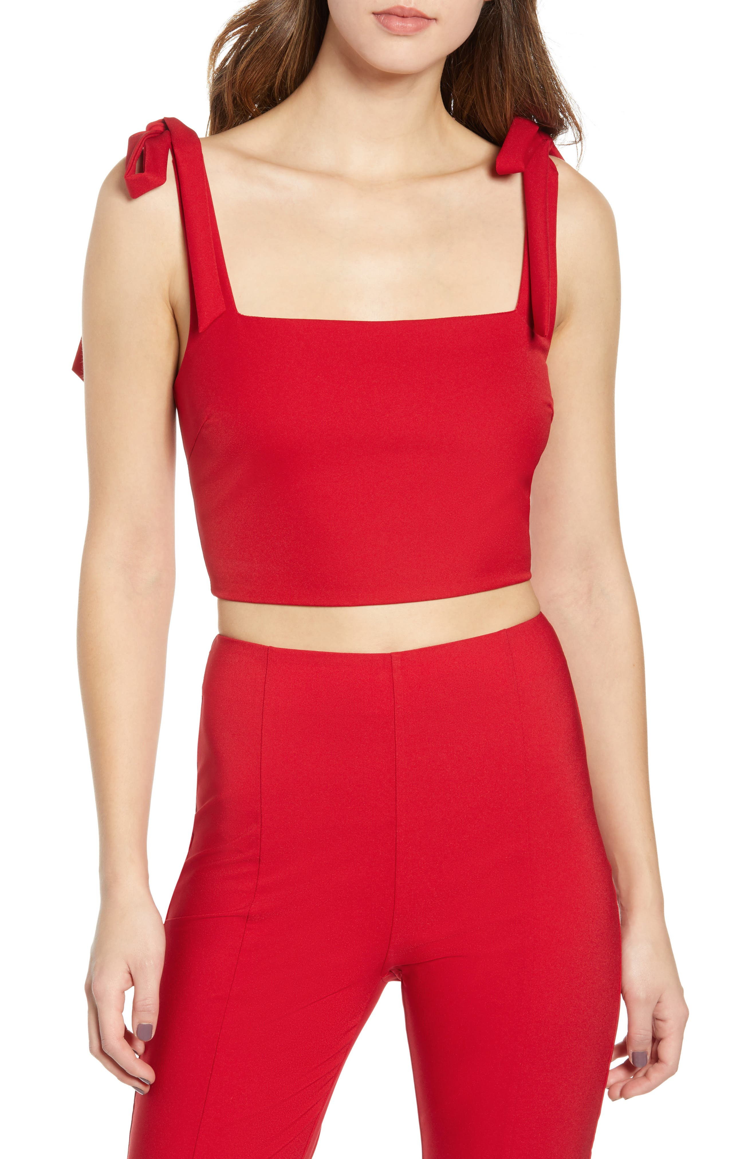 TIGER MIST,                             Kinsley Crop Top,                             Main thumbnail 1, color,                             RED