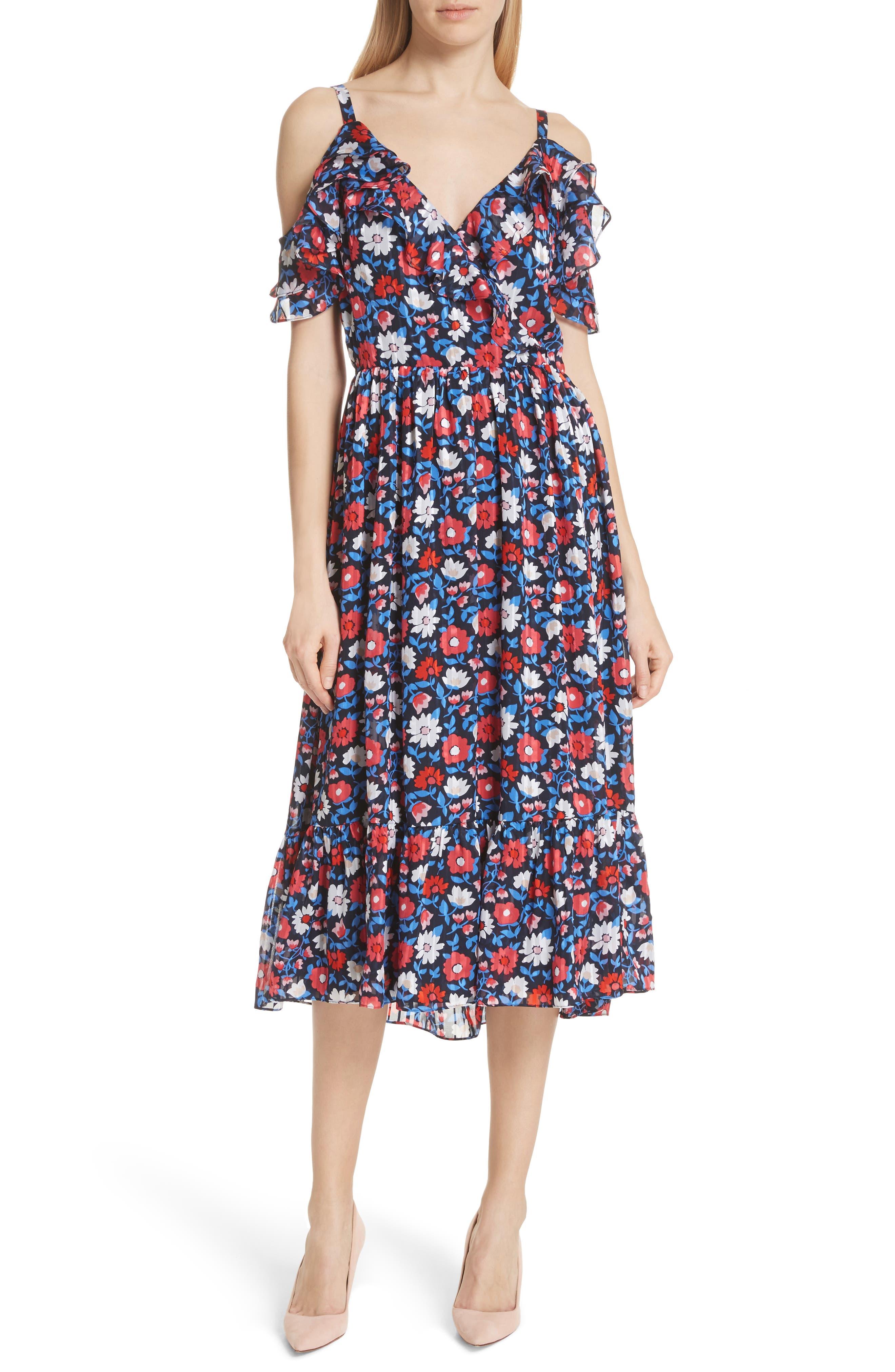 daisy satin stripe midi silk dress,                         Main,                         color,