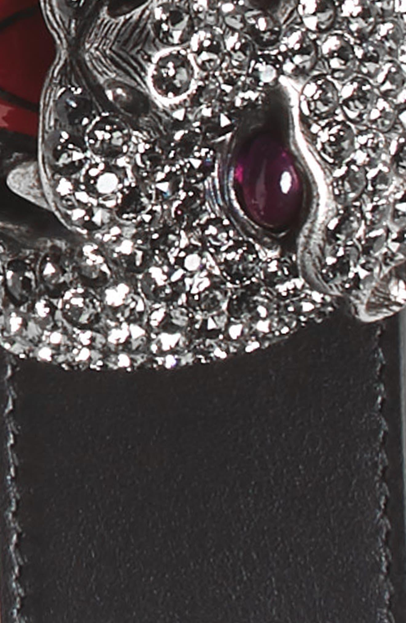 Tiger Buckle Calfskin Leather Belt,                             Alternate thumbnail 2, color,