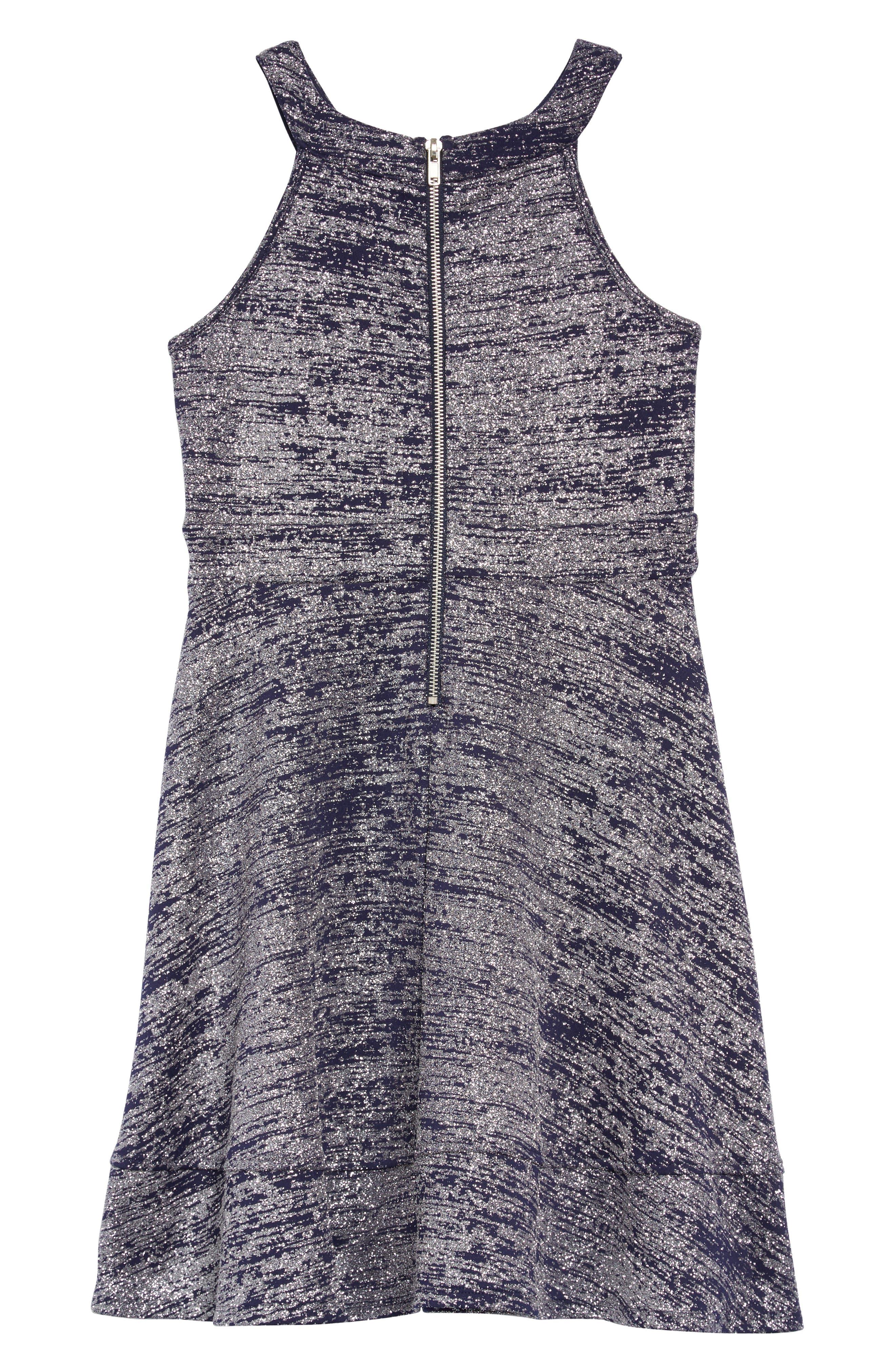 Glitter Illusion Neck Scuba Dress,                             Alternate thumbnail 2, color,                             NAVY/ SILVER