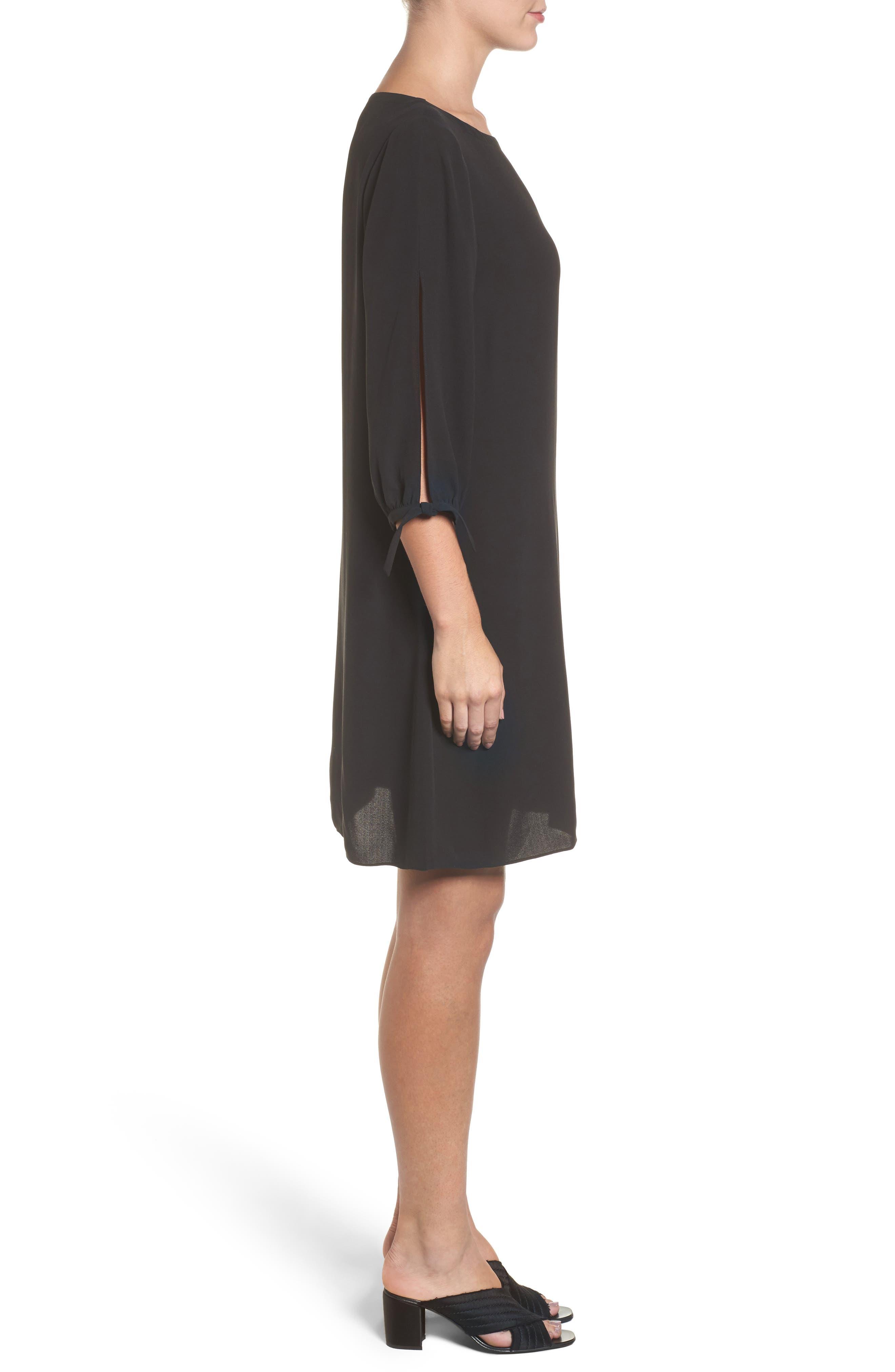 Silk Shift Dress,                             Alternate thumbnail 3, color,                             001