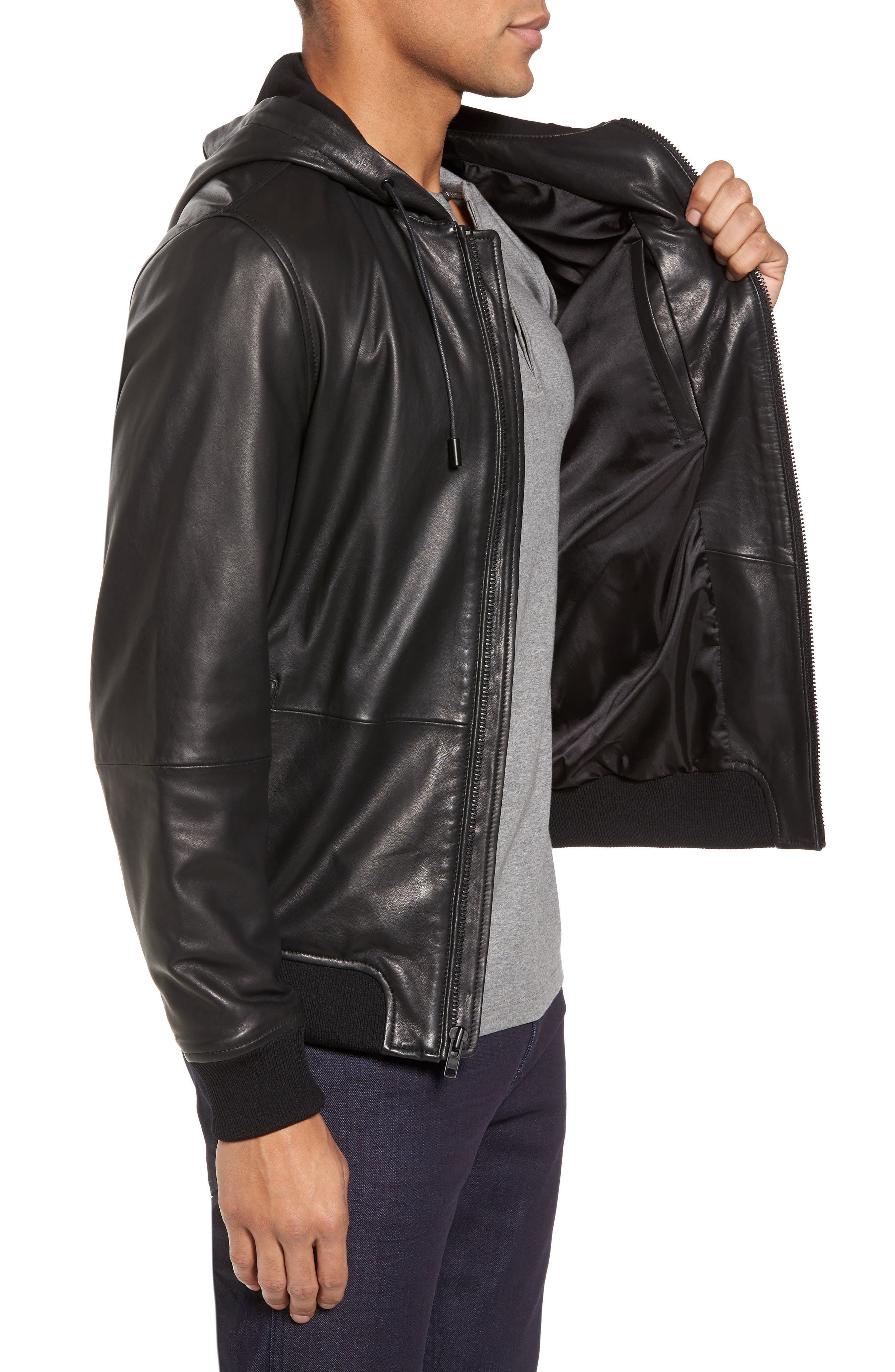 Hooded Leather Jacket,                             Alternate thumbnail 3, color,                             001