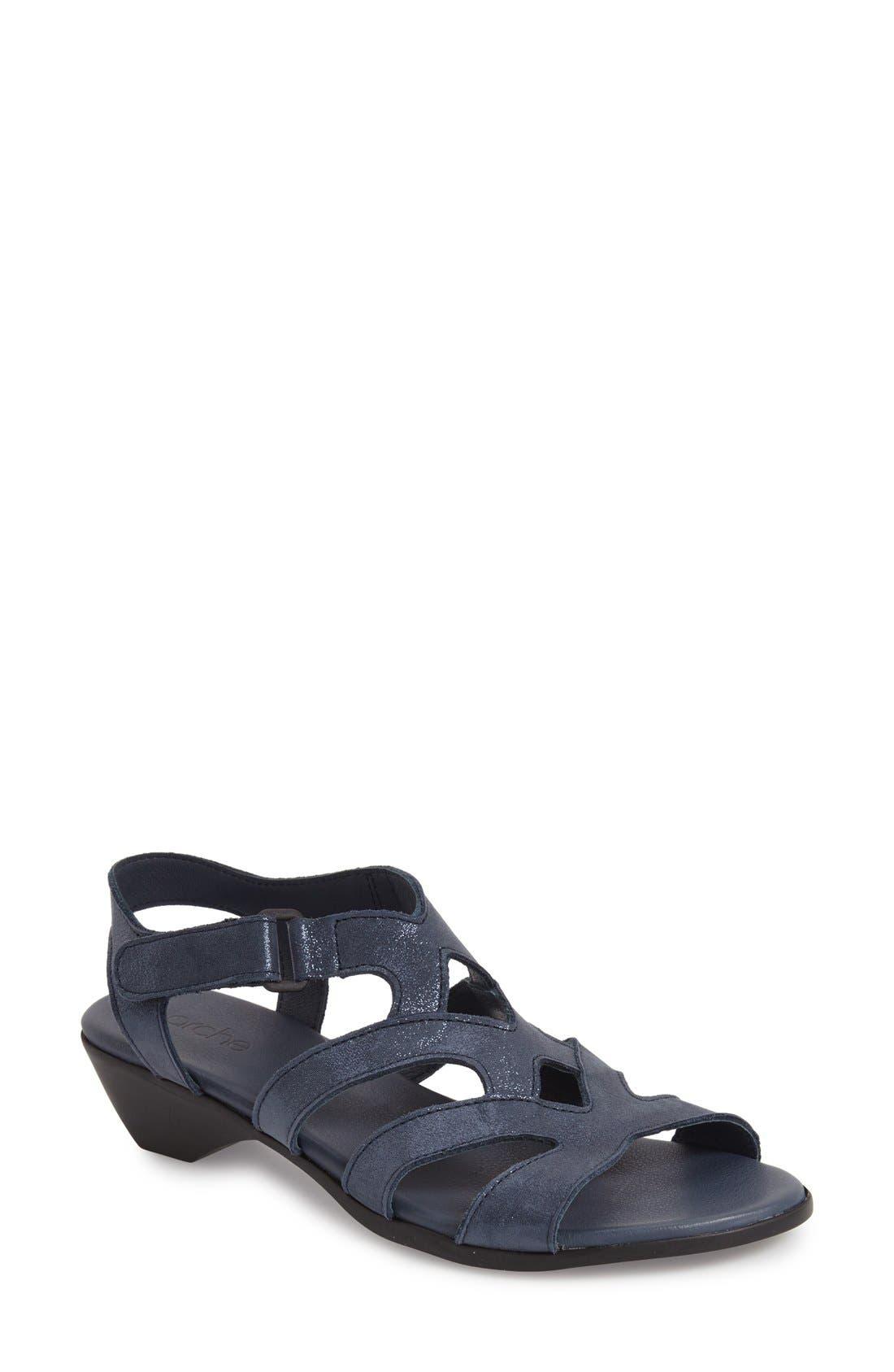 'Obela' Water Resistant Leather Sandal,                             Main thumbnail 5, color,