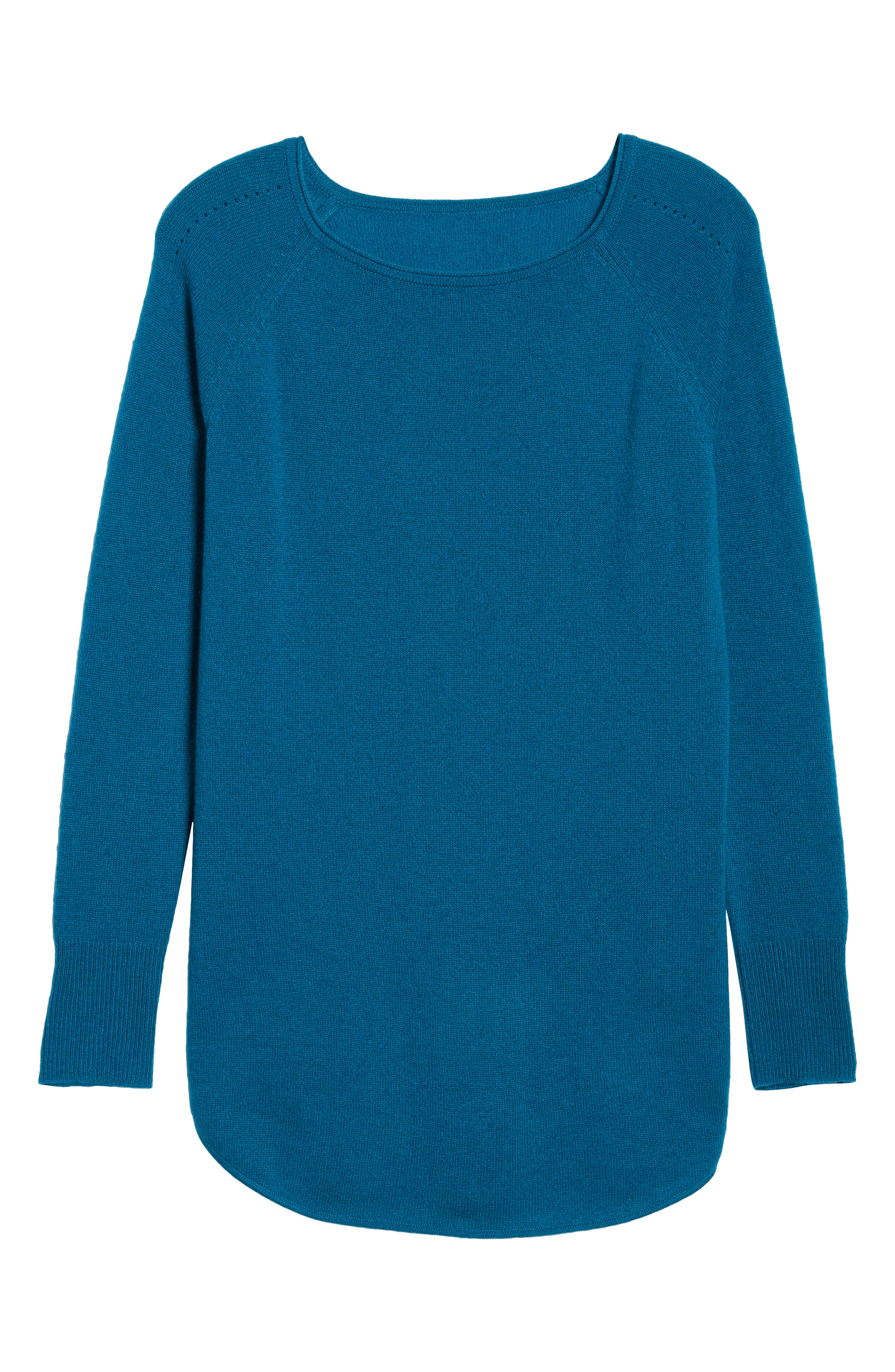 Shirttail Wool & Cashmere Boatneck Tunic,                             Alternate thumbnail 6, color,                             TEAL GLOSS