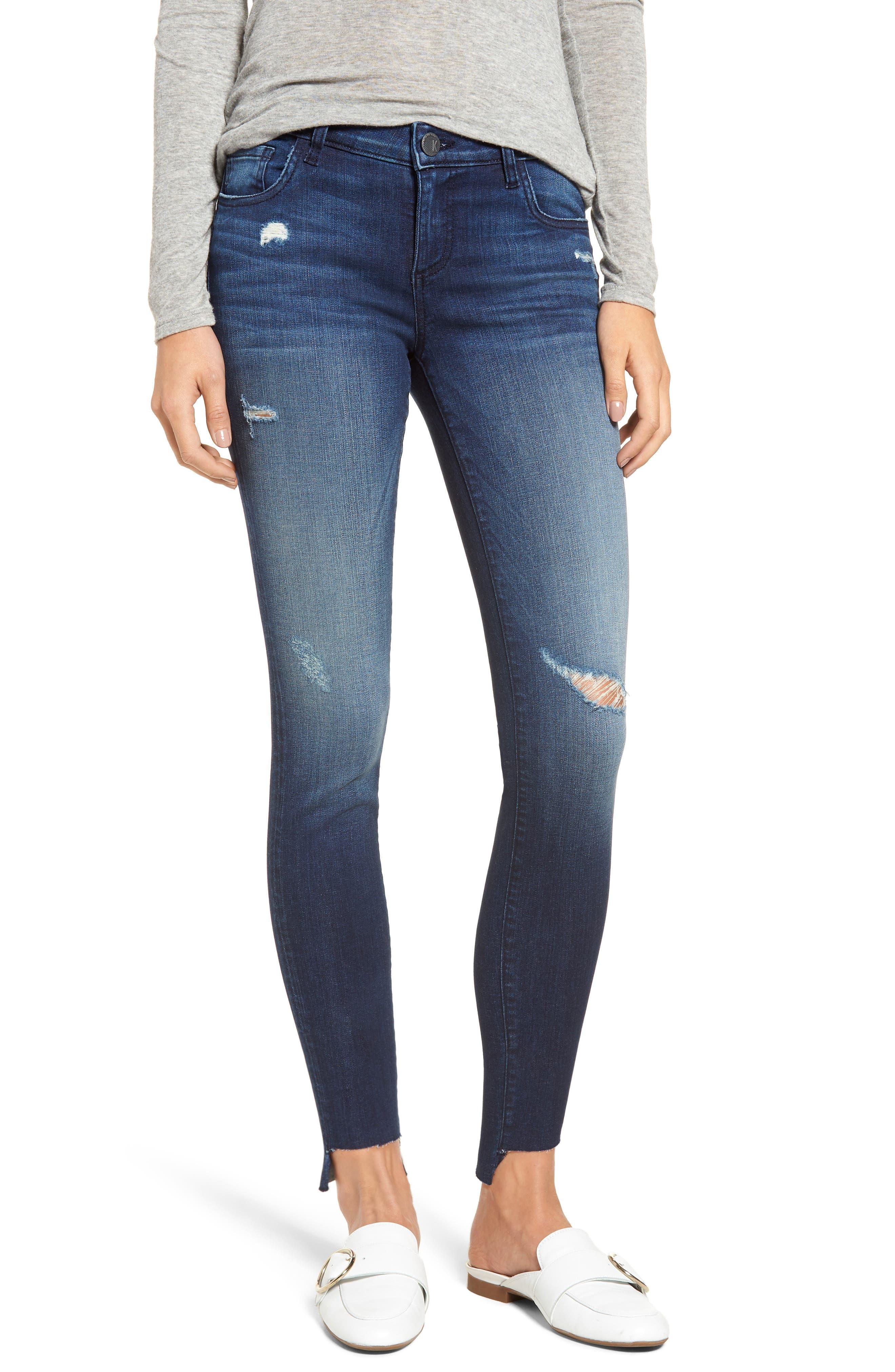 Connie Step Hem Skinny Jeans,                             Main thumbnail 1, color,                             CLEAN