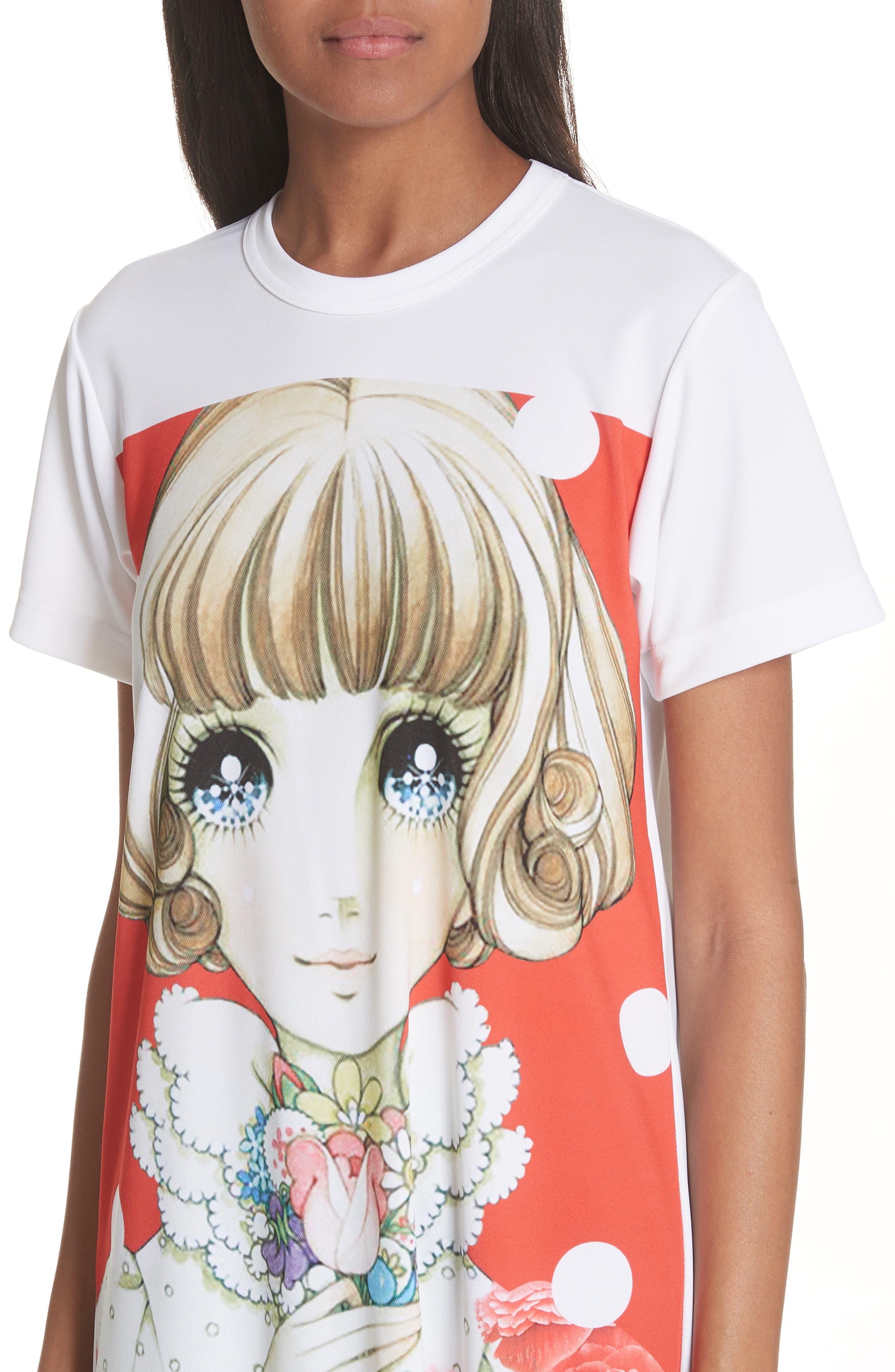 Manga Print T-Shirt Dress,                             Alternate thumbnail 4, color,                             100