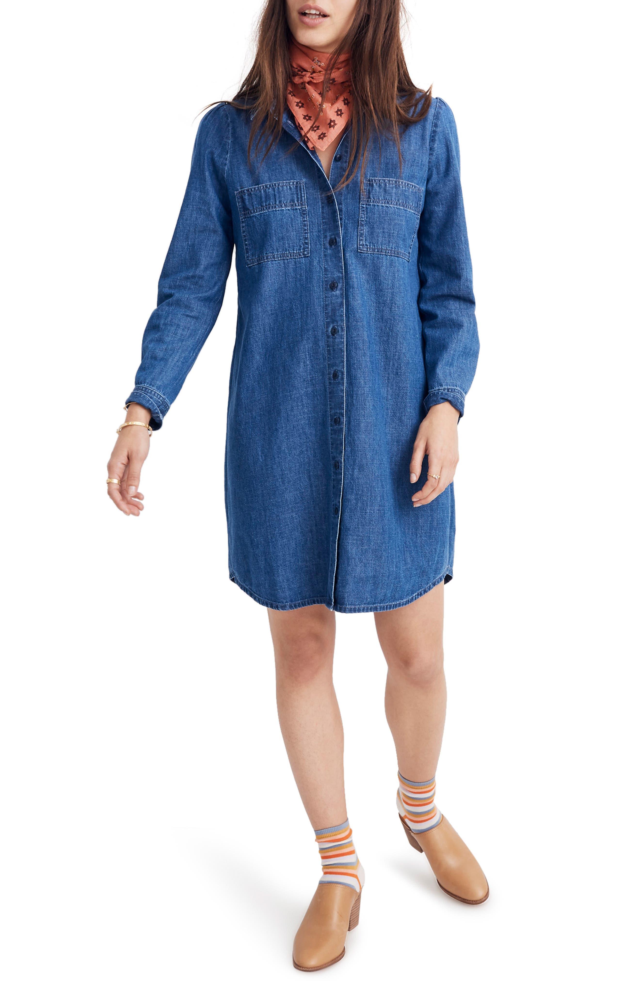 Puff Sleeve Denim Shirtdress, Main, color, HARRIS WASH