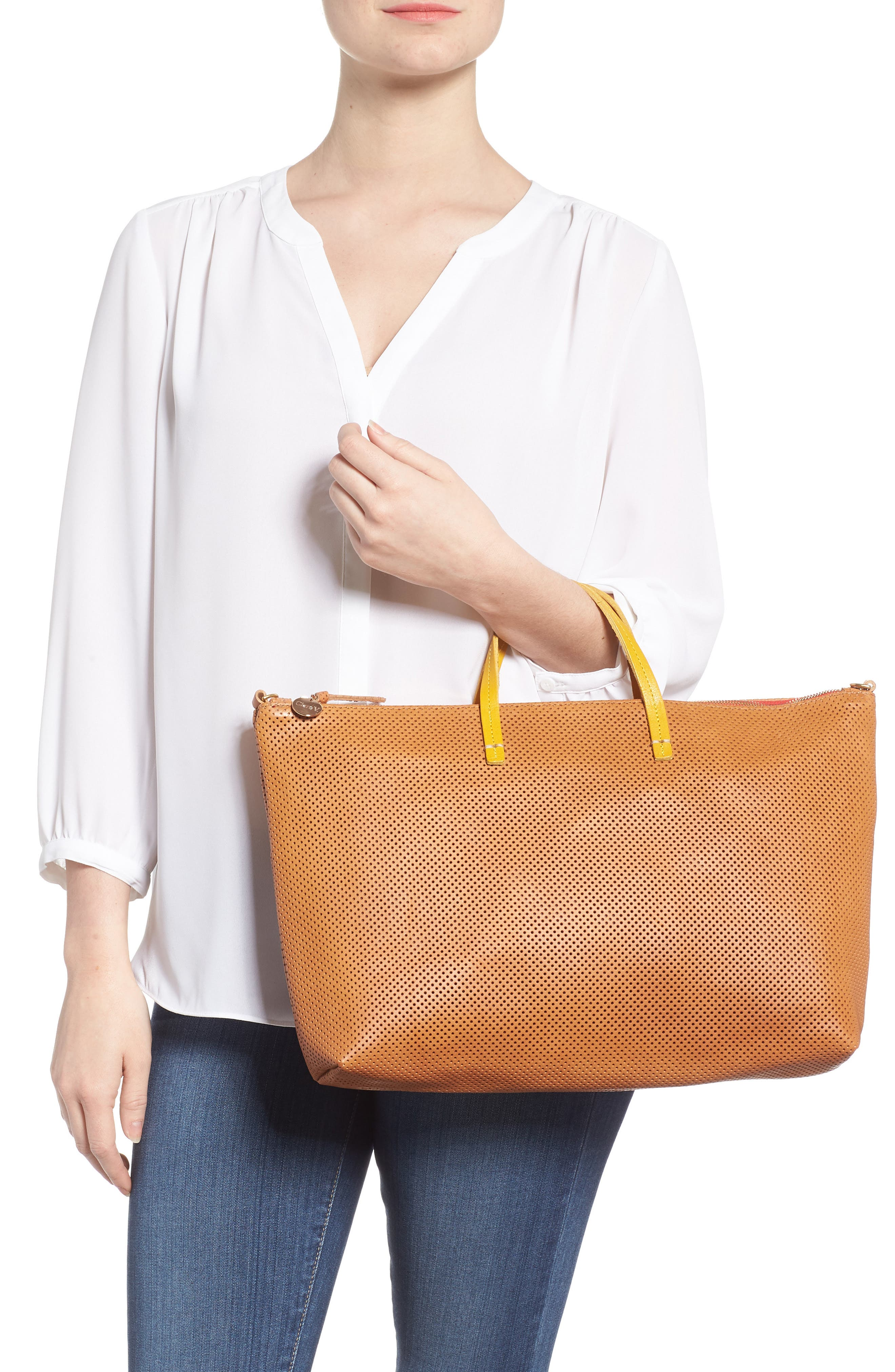 Perforated Leather Tote,                             Alternate thumbnail 2, color,                             200