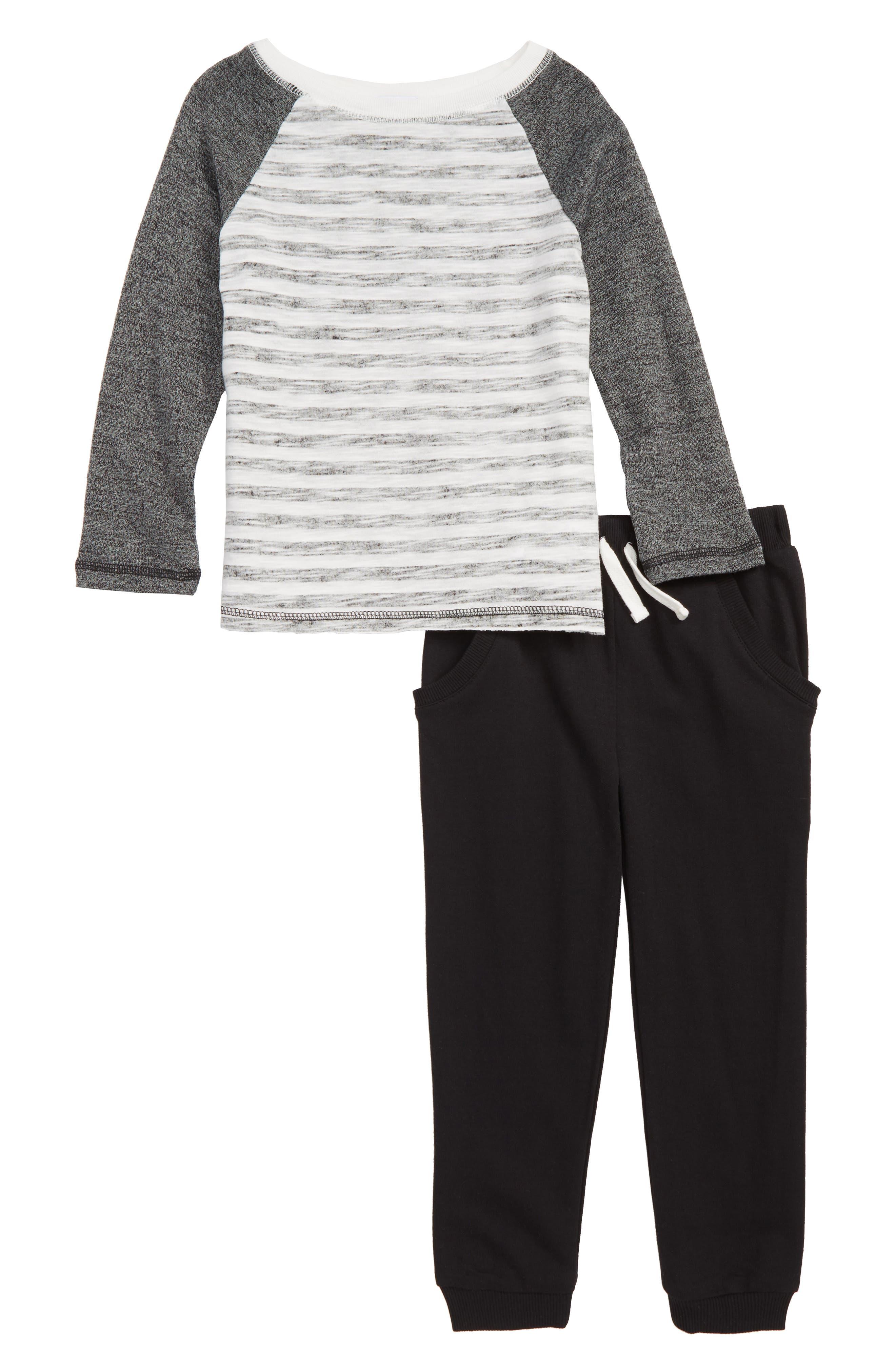 SPLENDID Reverse Stripe Raglan Shirt & Sweatpants Set, Main, color, 001