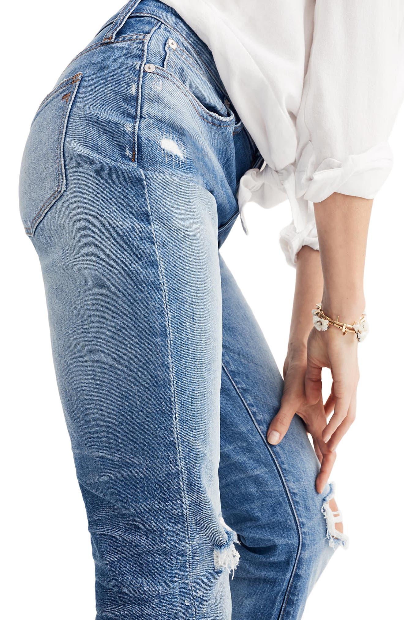 Ripped High Waist Slim Boyfriend Jeans,                             Alternate thumbnail 3, color,                             400