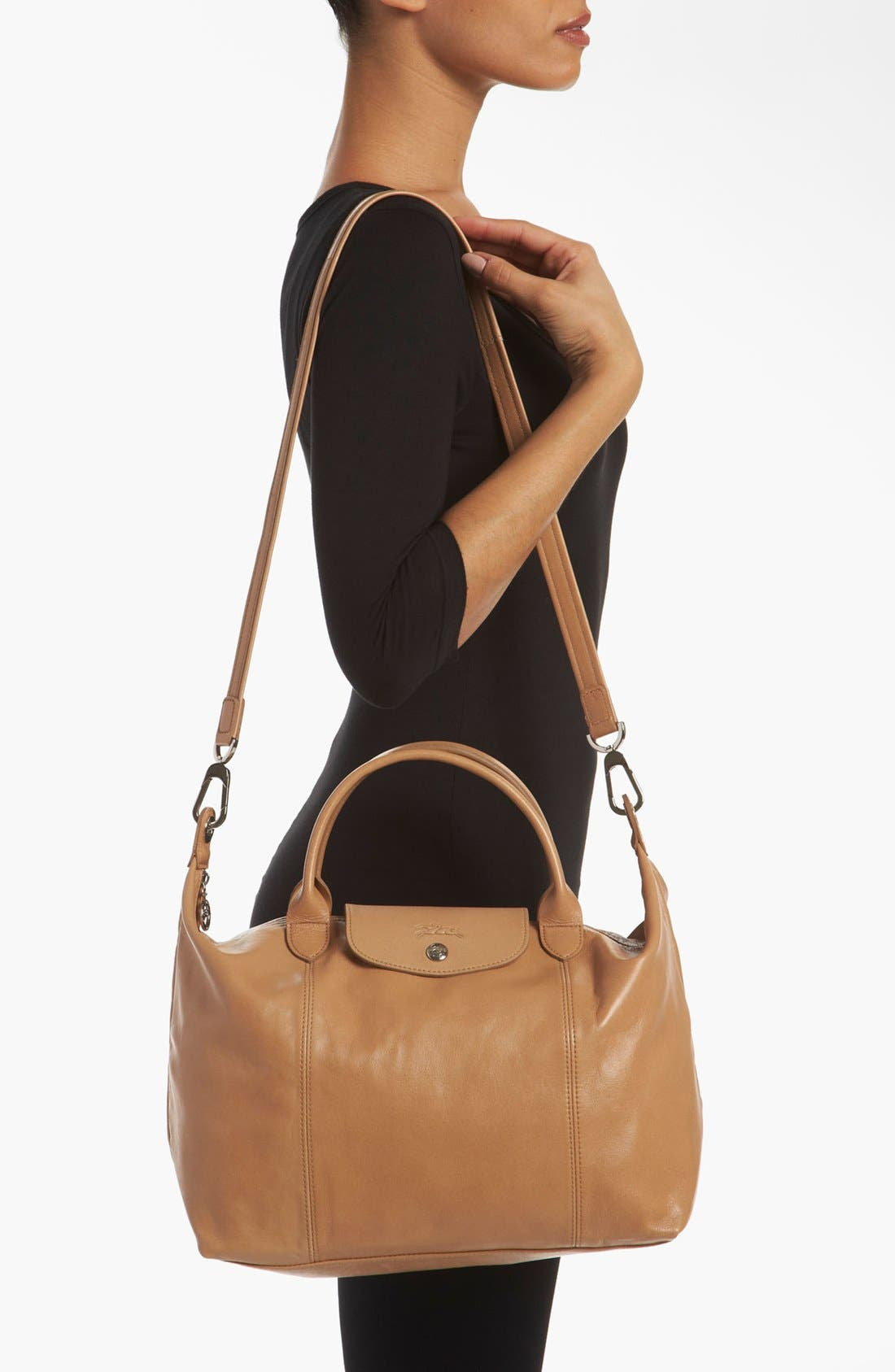 Medium 'Le Pliage Cuir' Leather Top Handle Tote,                             Alternate thumbnail 60, color,