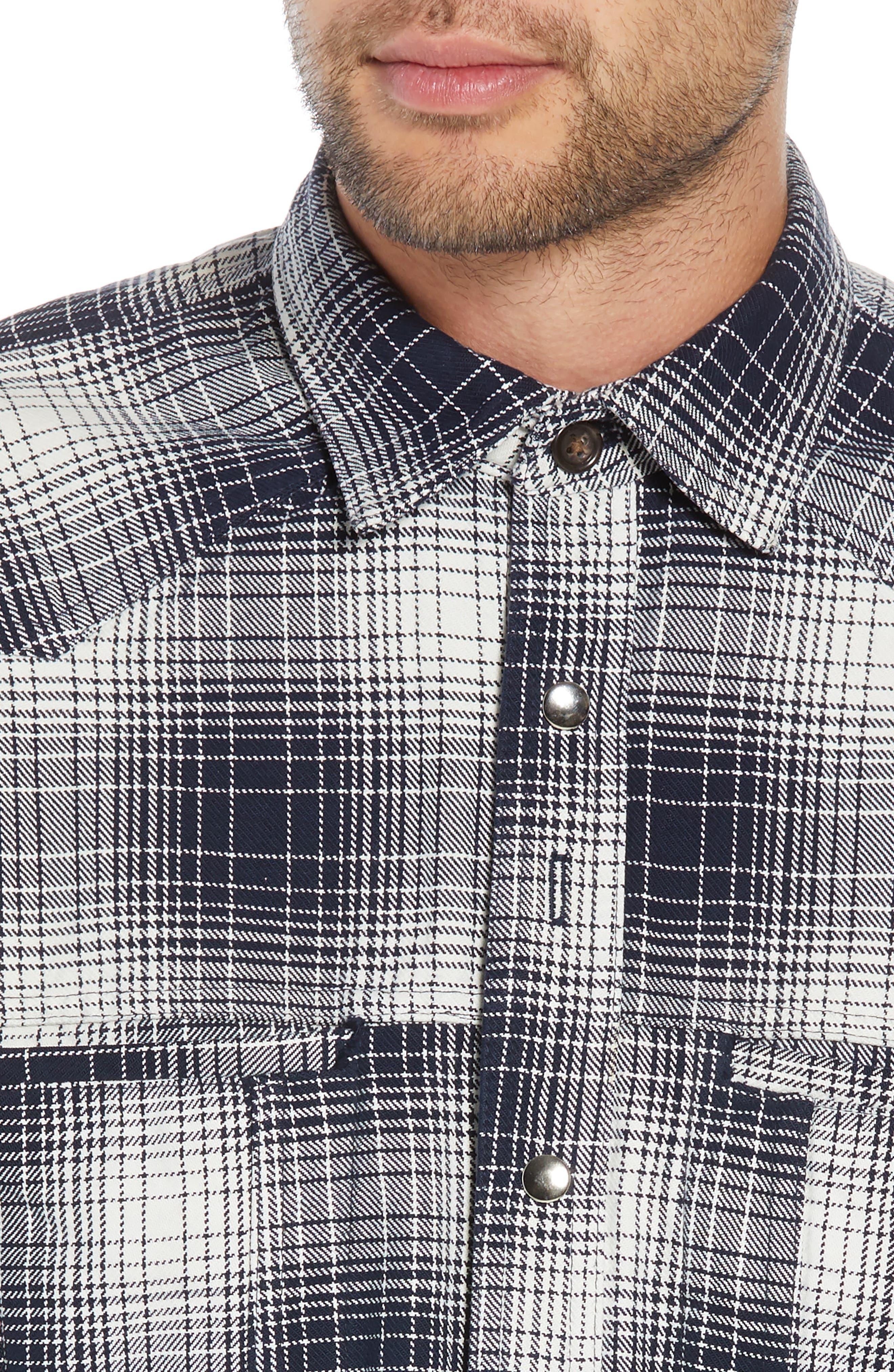 Western Flannel Slim Shirt,                             Alternate thumbnail 2, color,                             BLACK SHADOW