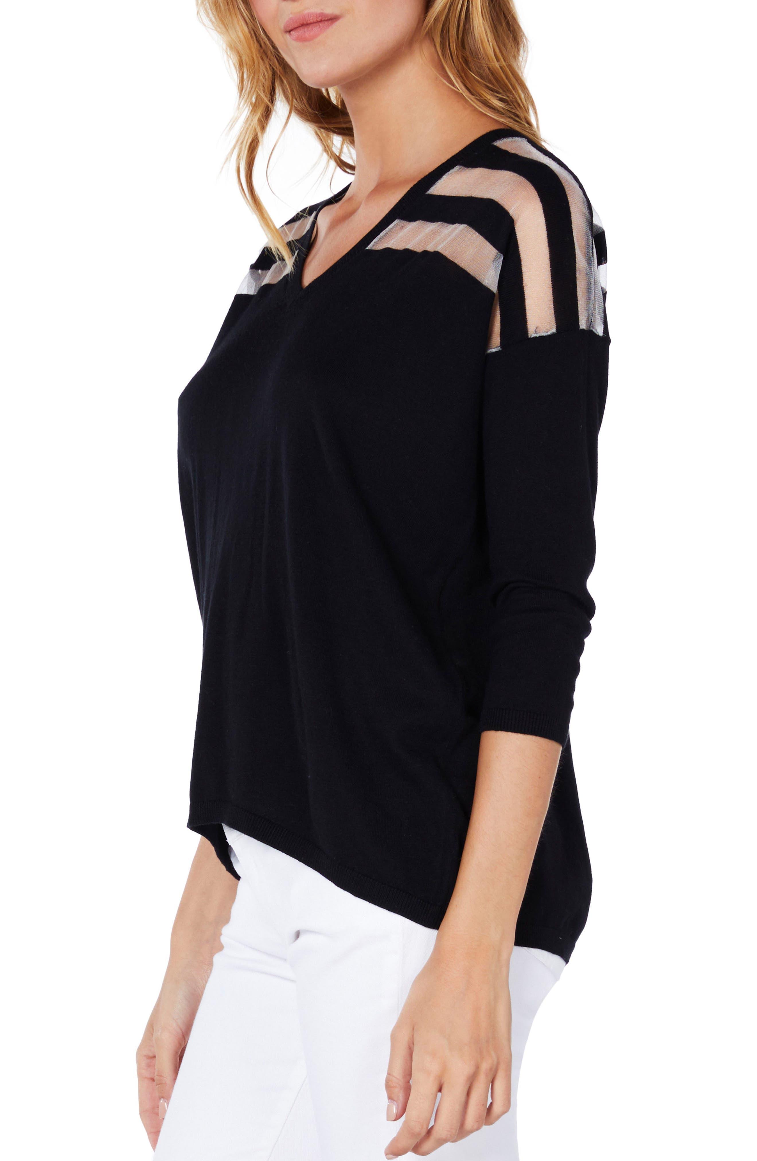 Sheer Stripe Sweater,                             Alternate thumbnail 4, color,