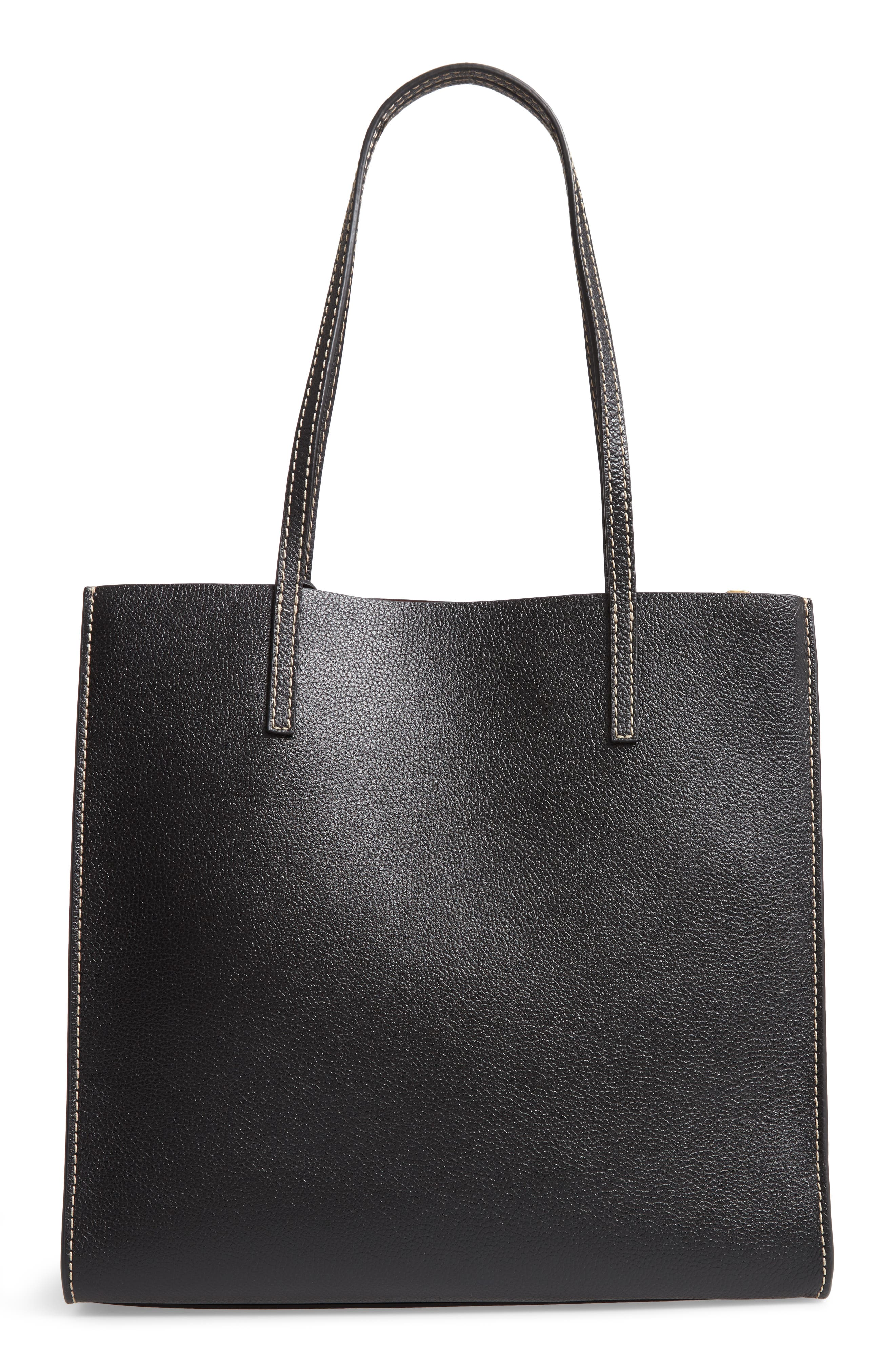 The Grind Leather Tote,                             Alternate thumbnail 3, color,                             BLACK/ DARK CHERRY